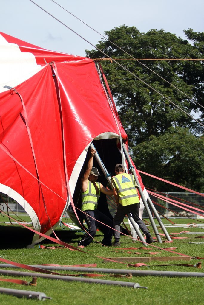 The big top being erected on Carnival 56 site.