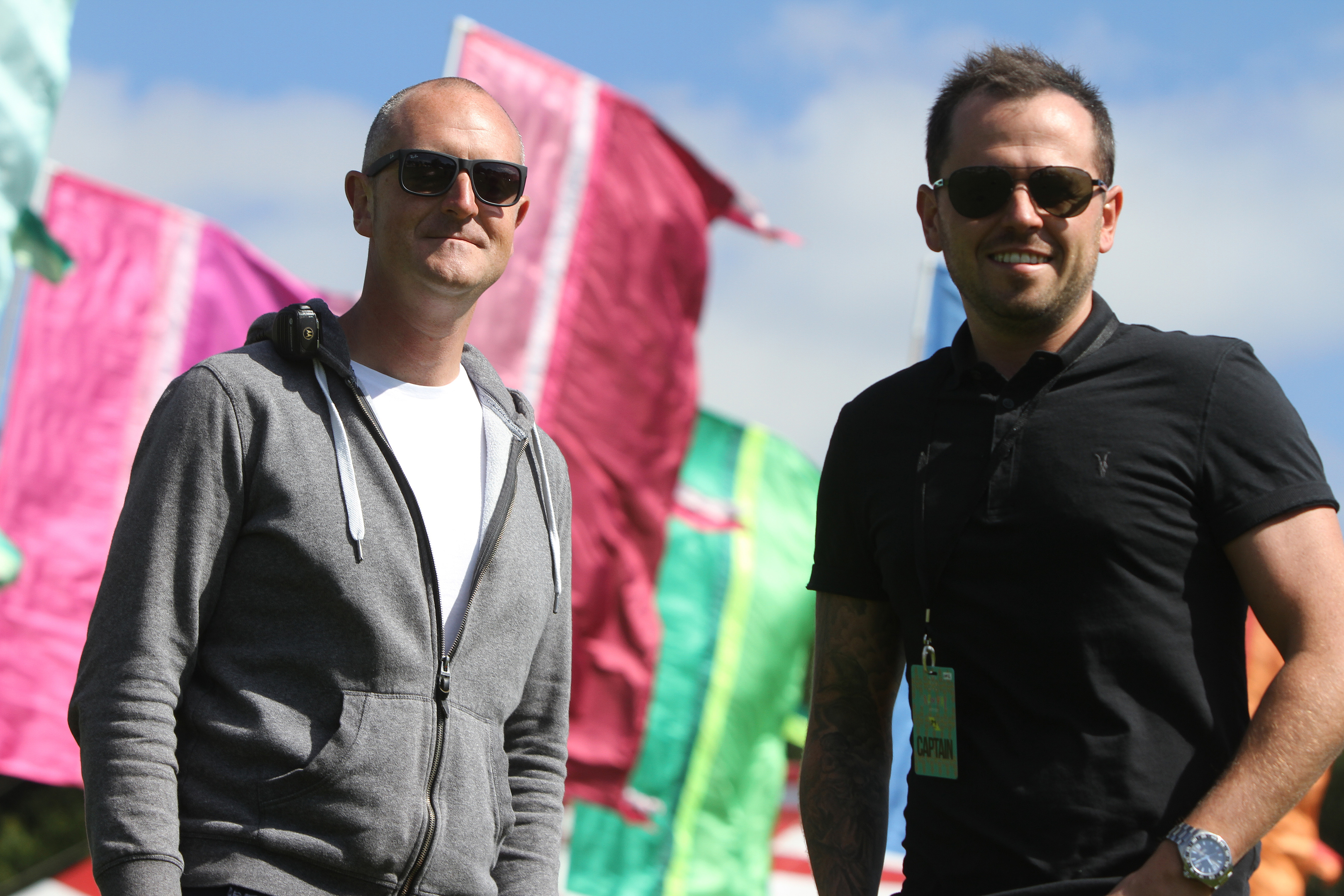 Steve Reynolds, festival event manager, and Craig Blyth, festival director at the Carnival 56 site.