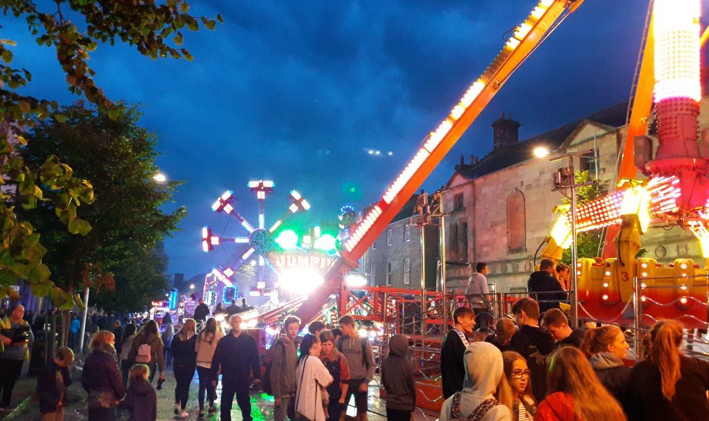 The Lammas Market on South Street, St Andrews, on Monday night
