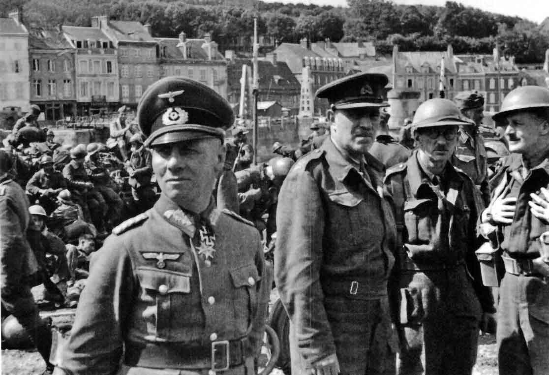 The 51st highland division surrender to Rommel at St Valery after the Dunkirk evacuation, General Erwin Rommel and General Victor Fortune to the fore.