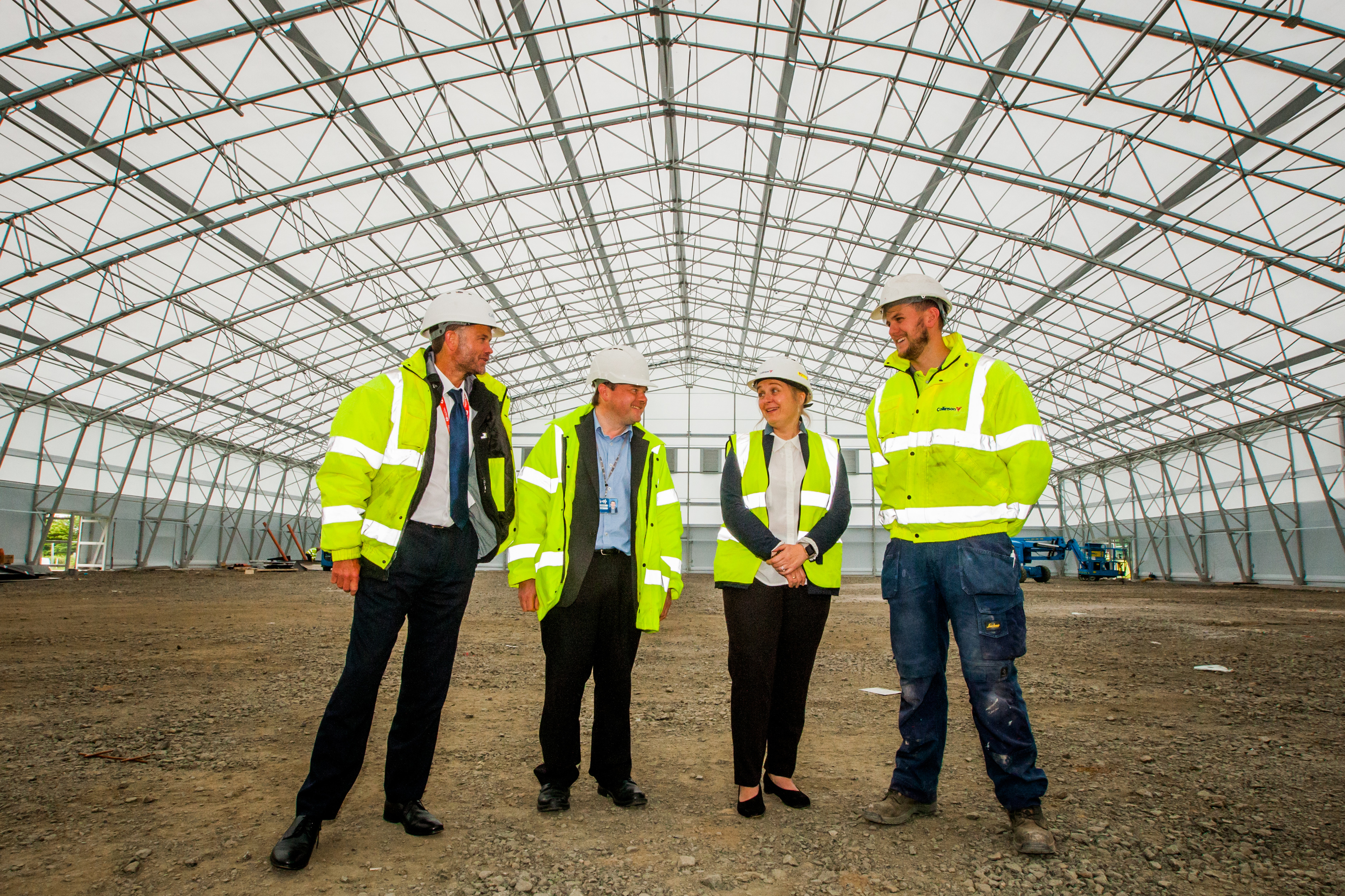 Left to right, Andy MacLelland (Sports Partnership Manager) John Purves (Architect at Fife Council), Sharon Johnstone (Area Manager, Fife Sports and Leisure Trust) and Rory Waite (Site Manager) in the building. Indoor Football Academy, Michael Woods Sports Centre, Glenrothes.