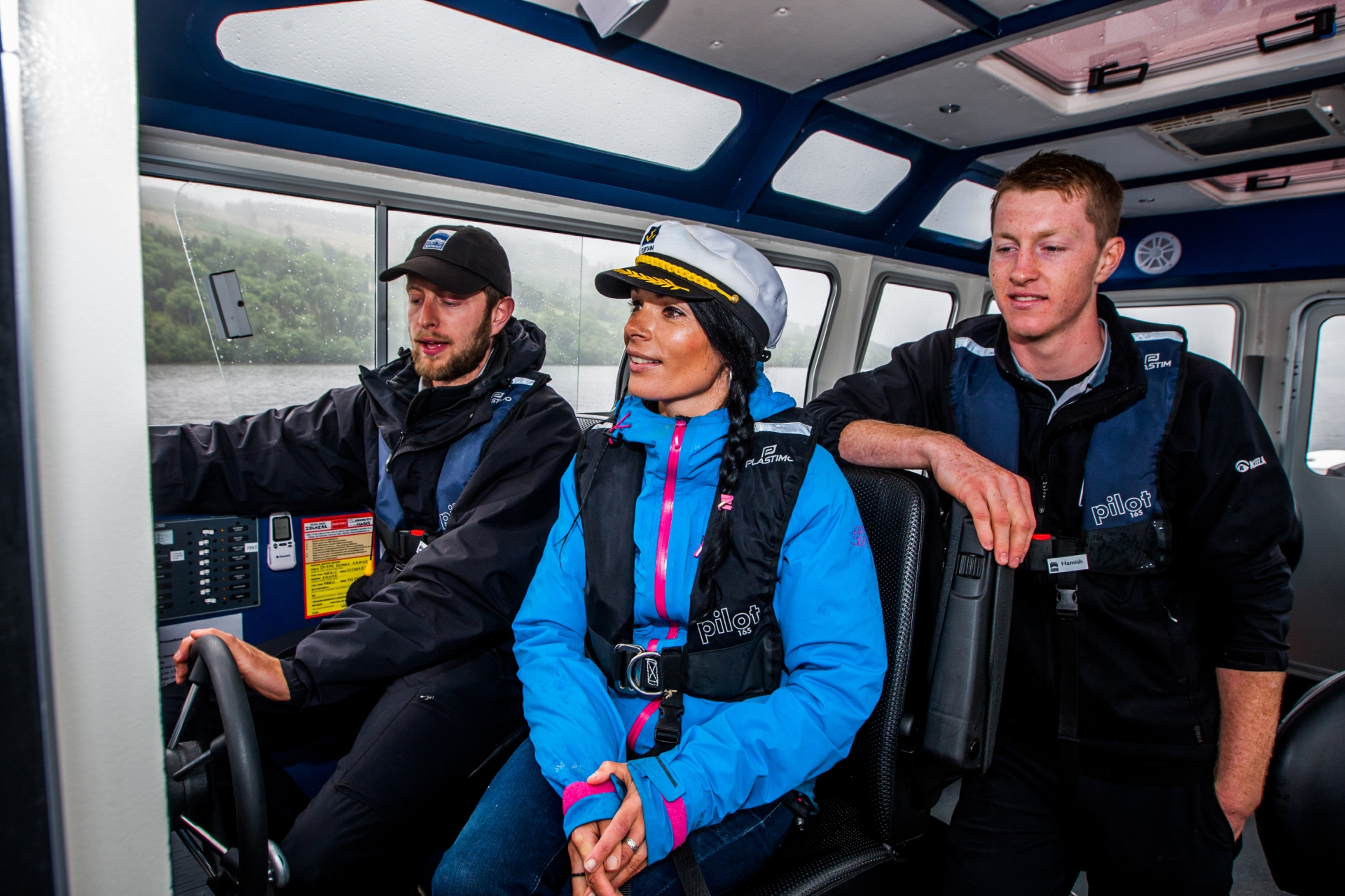 Skipper Alex Martin, Gayle Ritchie and Hamish Brown on board the boat on Loch Tay.