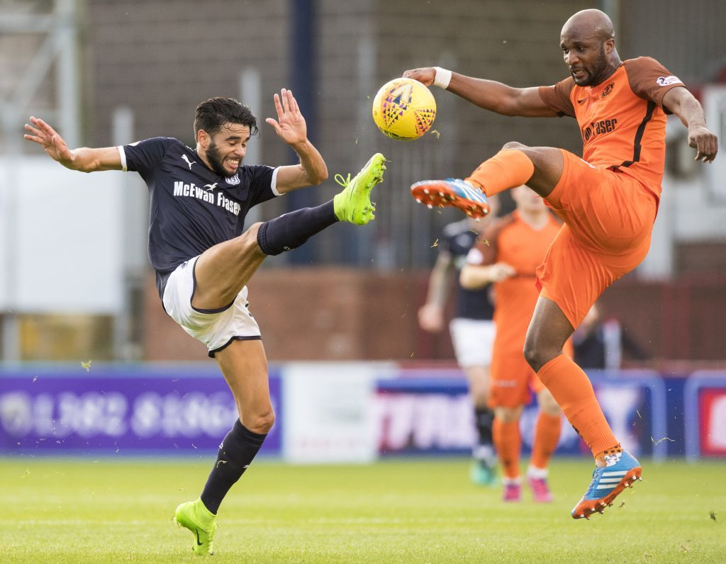 Dundee's Faissal El Bakhtaoui and Dundee United's William Edjenguele