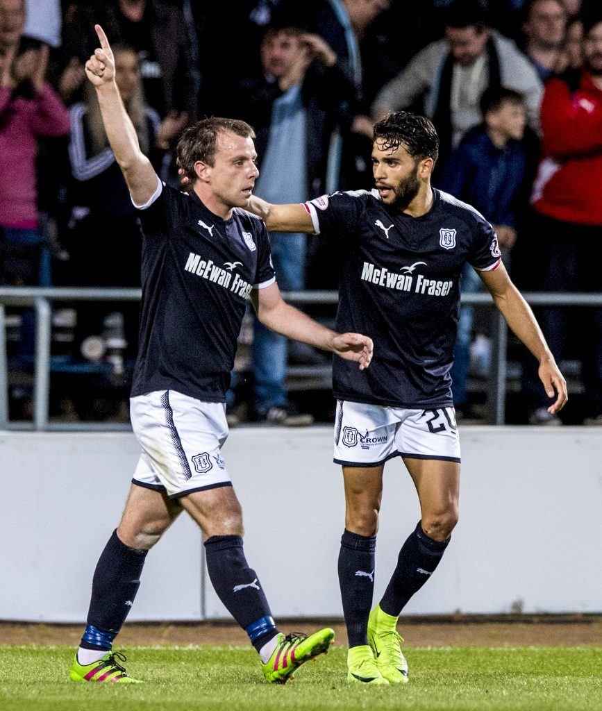 Dundee's Paul McGowan celebrates his goal with fellow goalscorer Faissal El Bakhtaoui