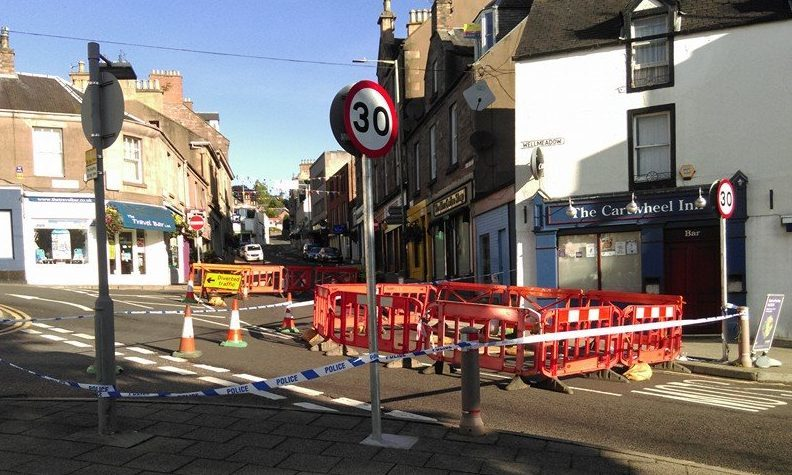Work is under way on sinkhole in Wellmeadow, Blairgowrie.