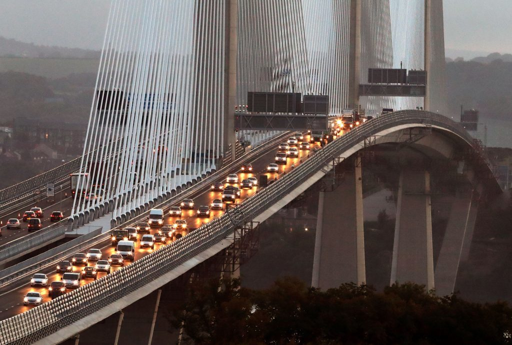 Traffic flows on both carriageways of the Queensferry Crossing on Wednesday morning after it opened to traffic for the first time.