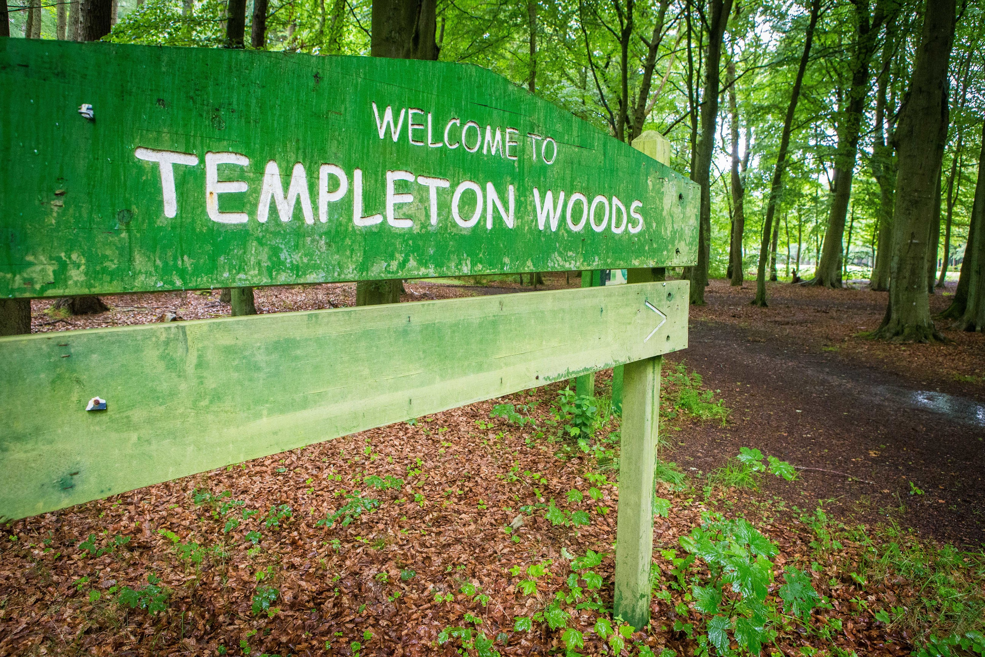 The entrance to Templeton Woods.