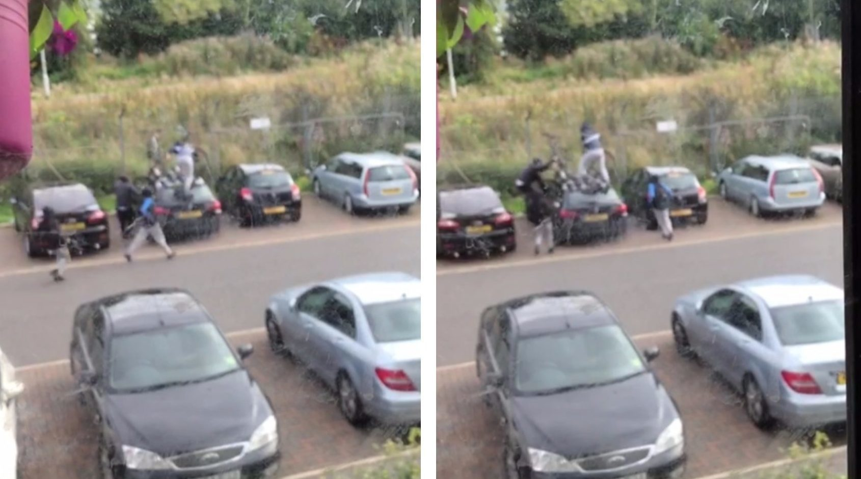 The moment the bikes were ripped from a car by yobs