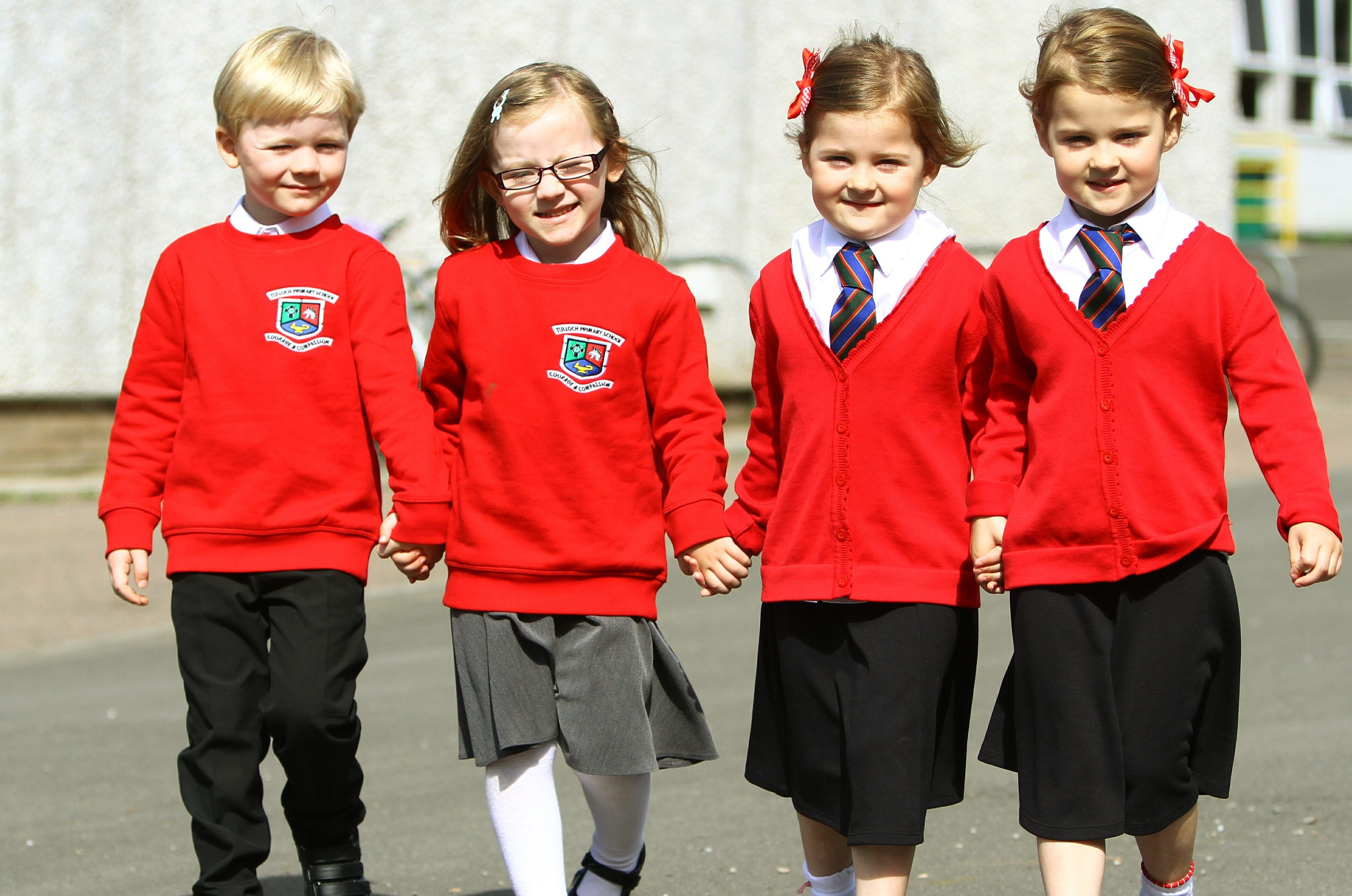 Murray and Isla MacIntyre with Ava and Amelia Ward, the two sets of twins at Tulloch Primary School, Perth.
