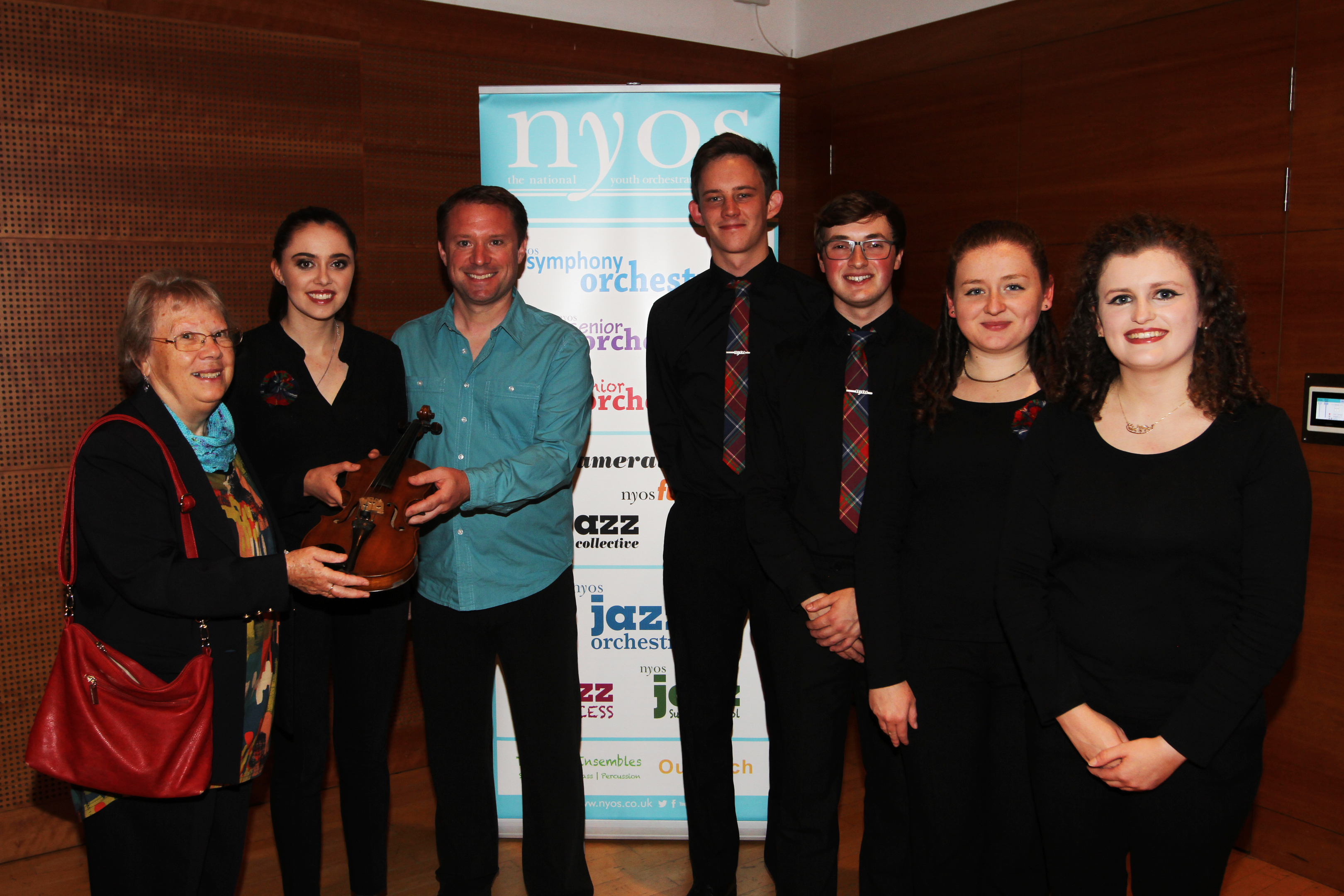 Elizabeth Currie, leader of NYOS Iona McDonald, Percussionist Colin Currie and members of NYOS, Ethan Skuodas, 19, Fraser Sharp, 20, Lauren O'Malley, 19 and Paula O'Malley, 20.