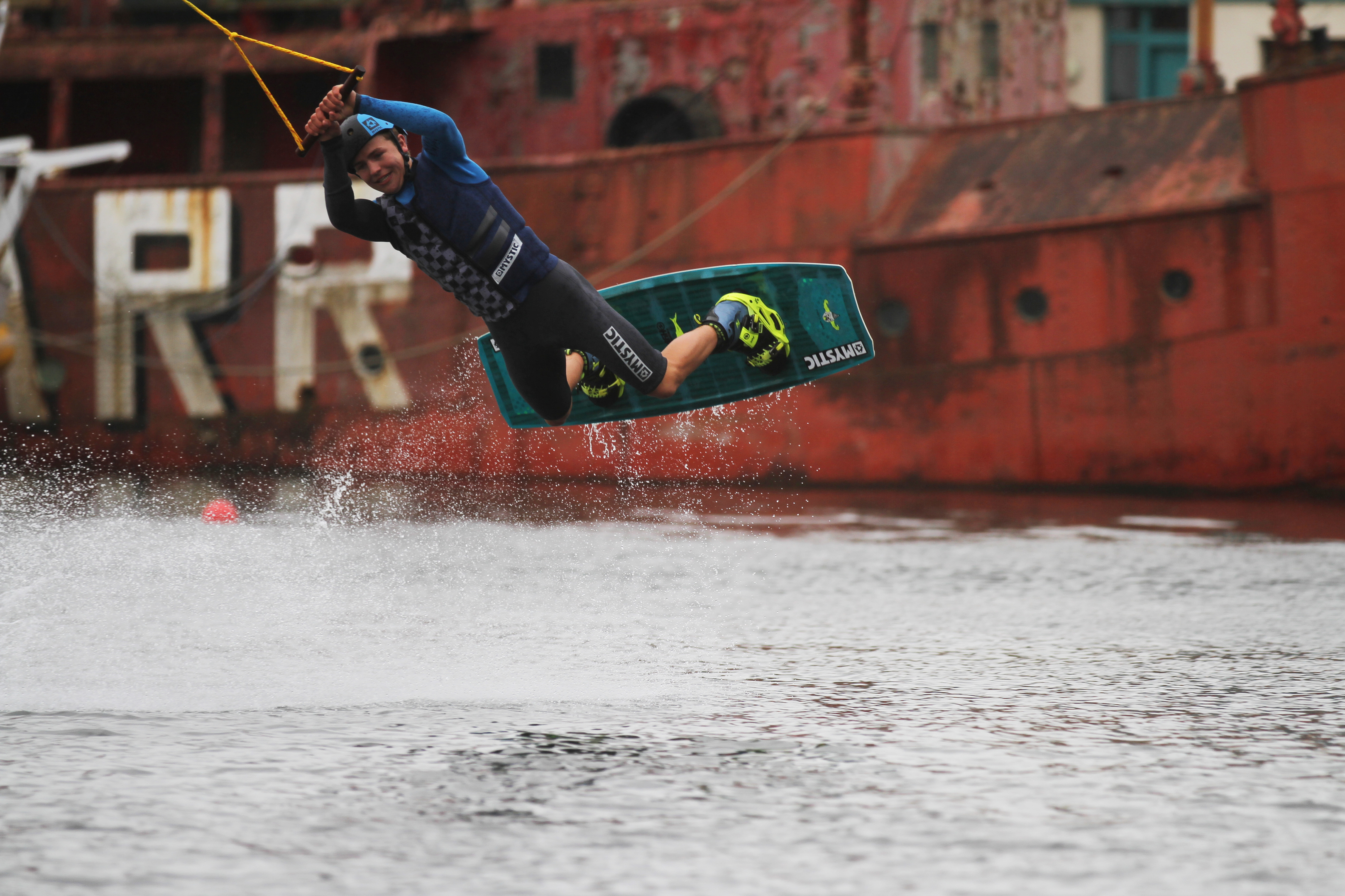 World champion wakeboarder Blair Fraser trying out the new centre at Dundee.