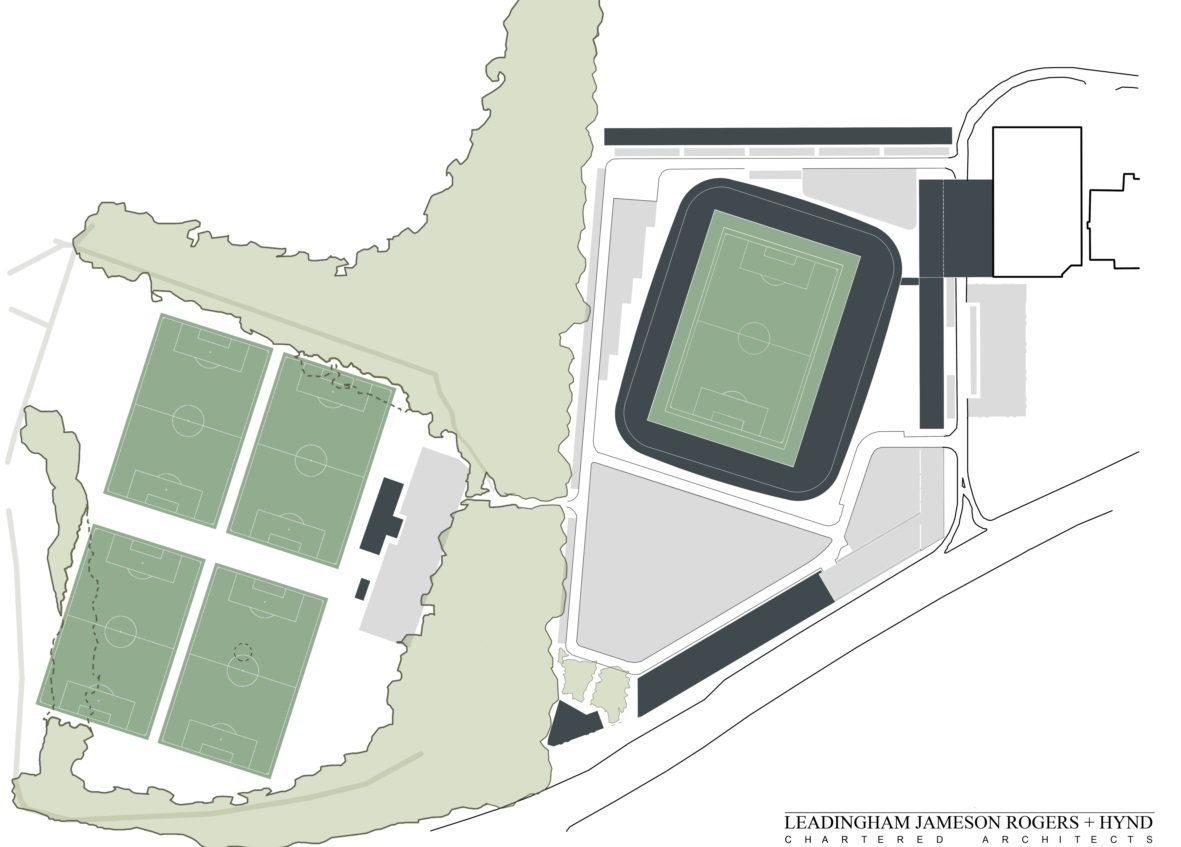 Plans showing where the new stadium would be built.