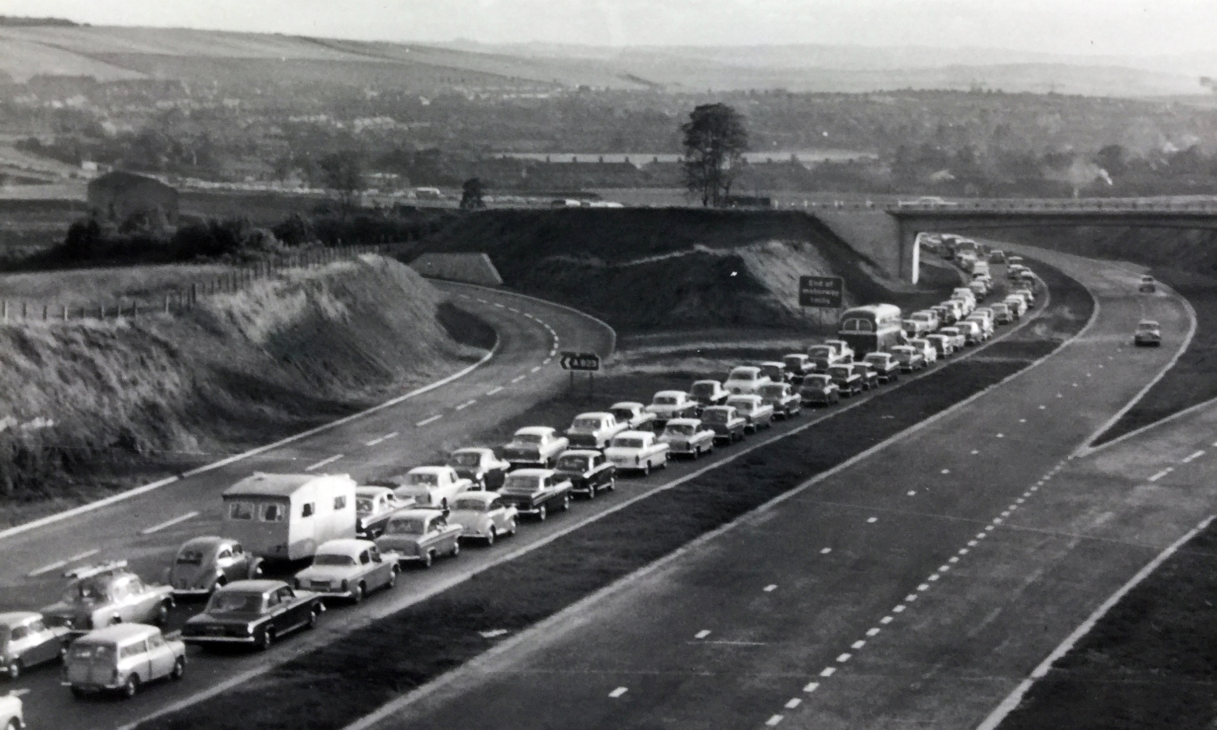Traffic queuing to cross the Forth Road Bridge on its opening day on September 4 1964.