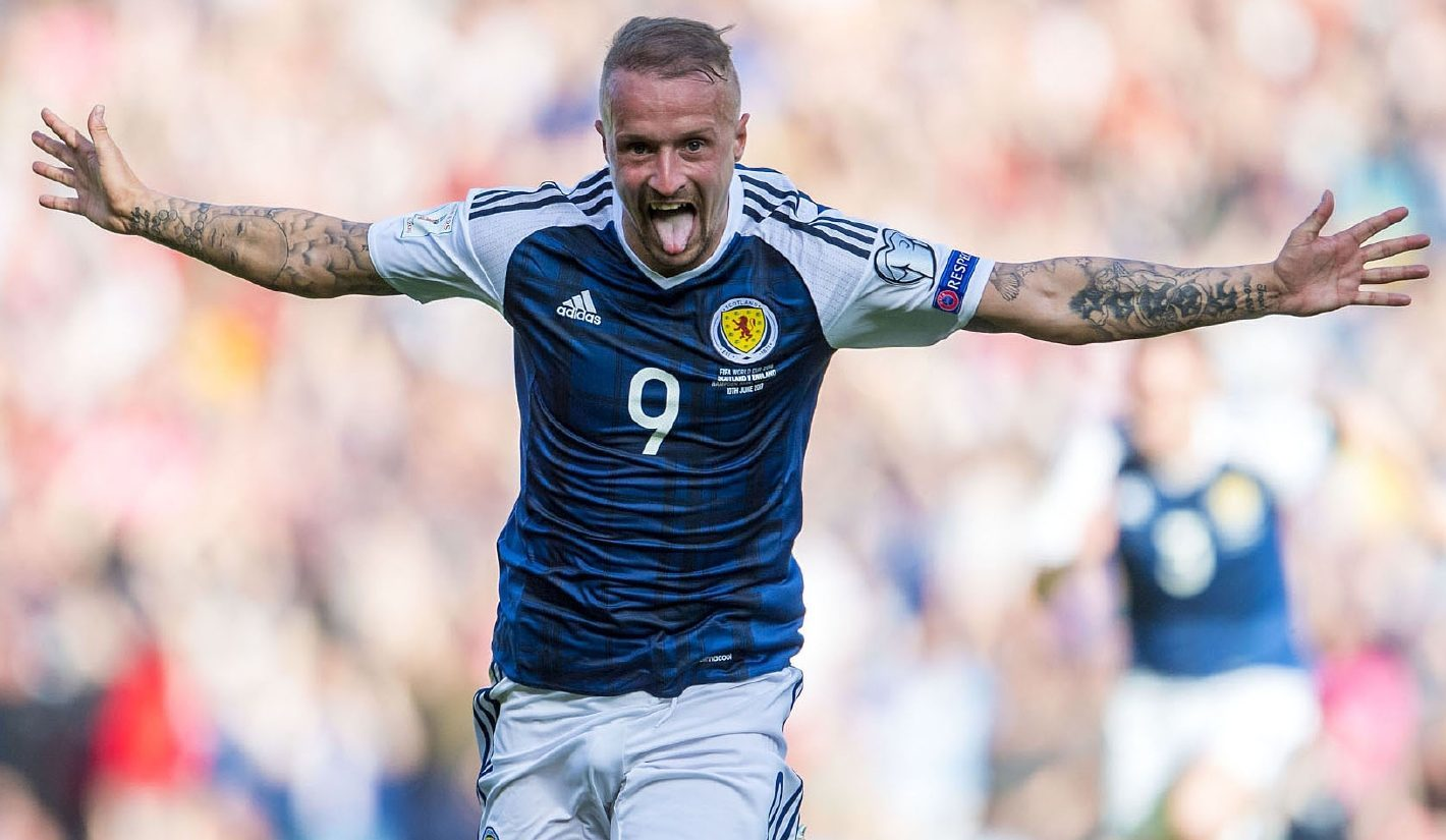 Scotland's Leigh Griffiths celebrates his first goal against England