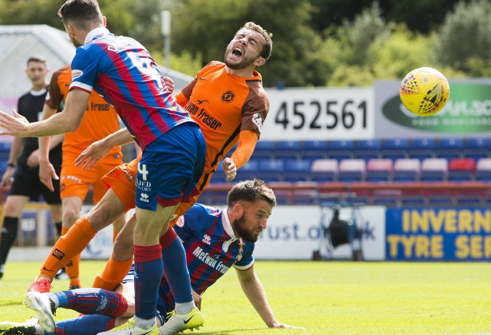 Paul McMullan is fouled for the penalty opener.