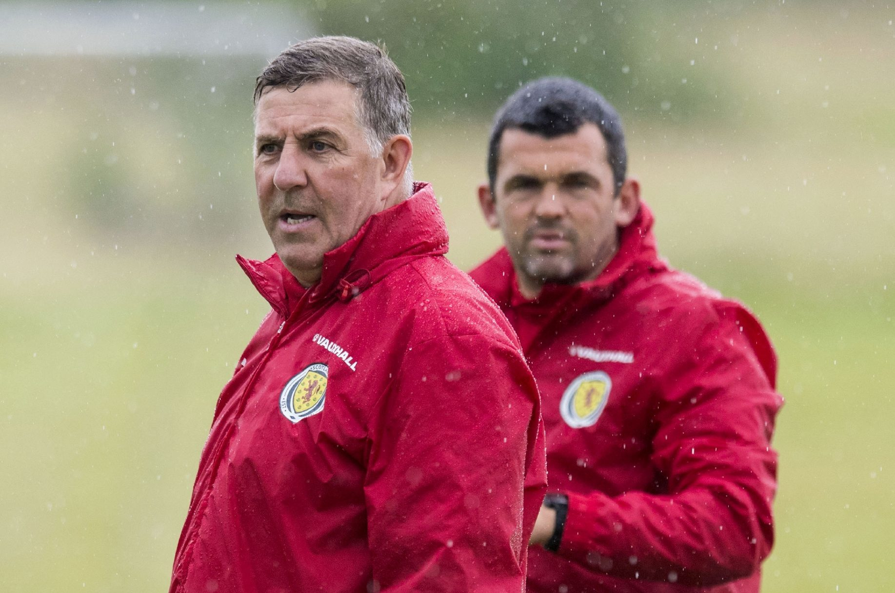 Mark McGhee and Callum Davidson at training.