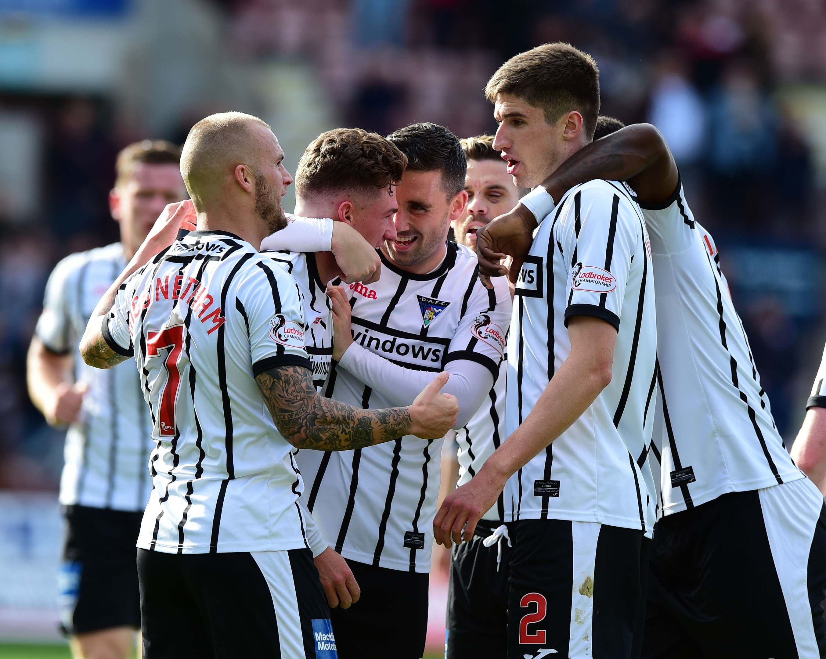 Dunfermline's David Hopkin celebrates his goal with his team mates.