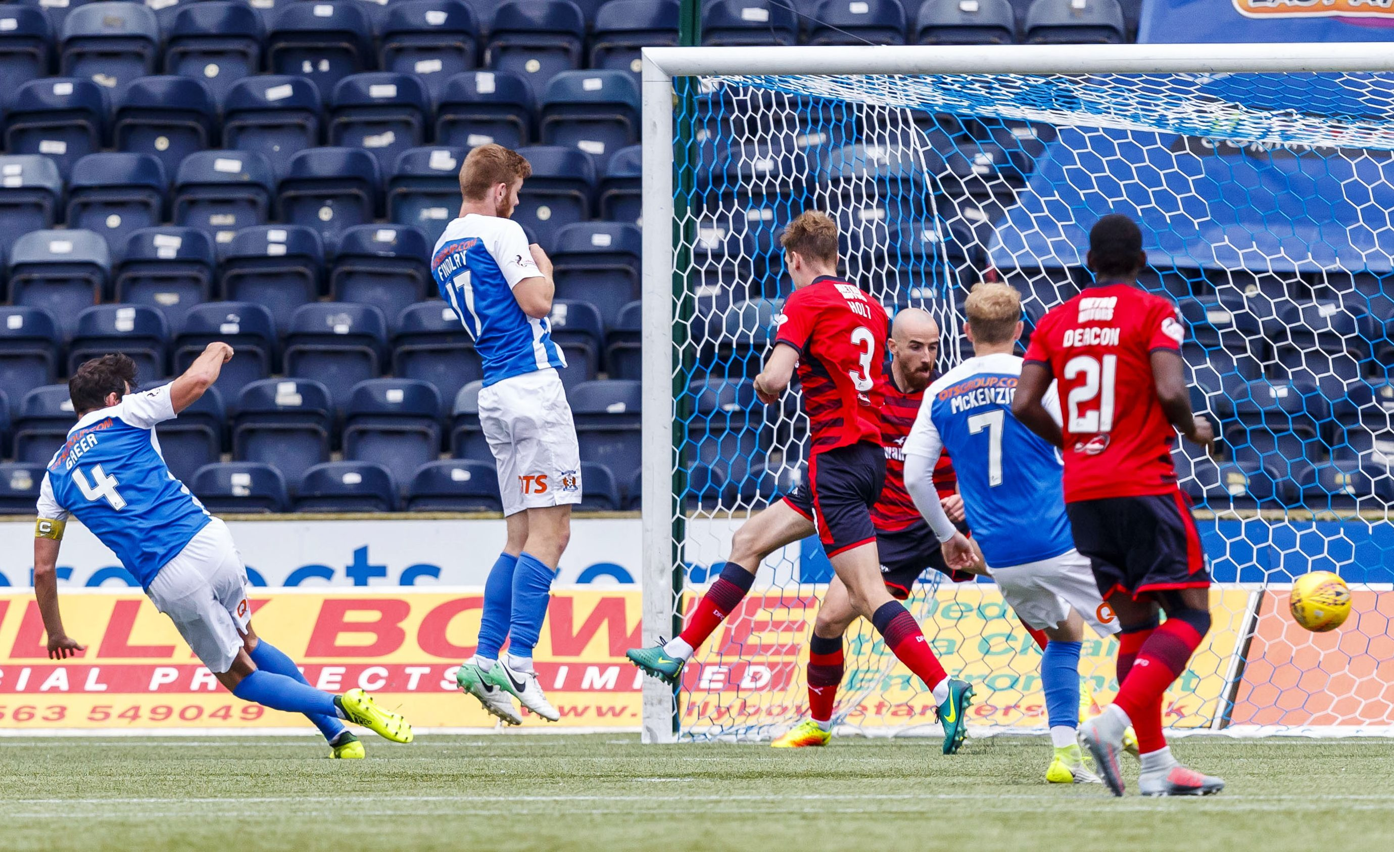 Dundee concede from a corner at Kilmarnock.