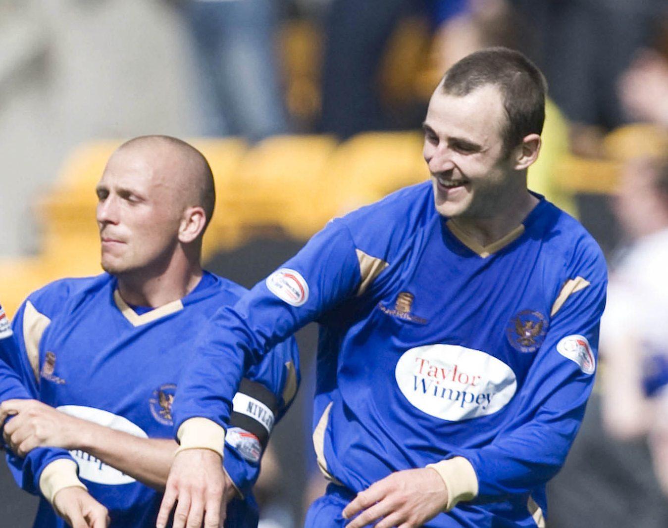Jody Morris and Dave Mackay as St Johnstone team-mates.