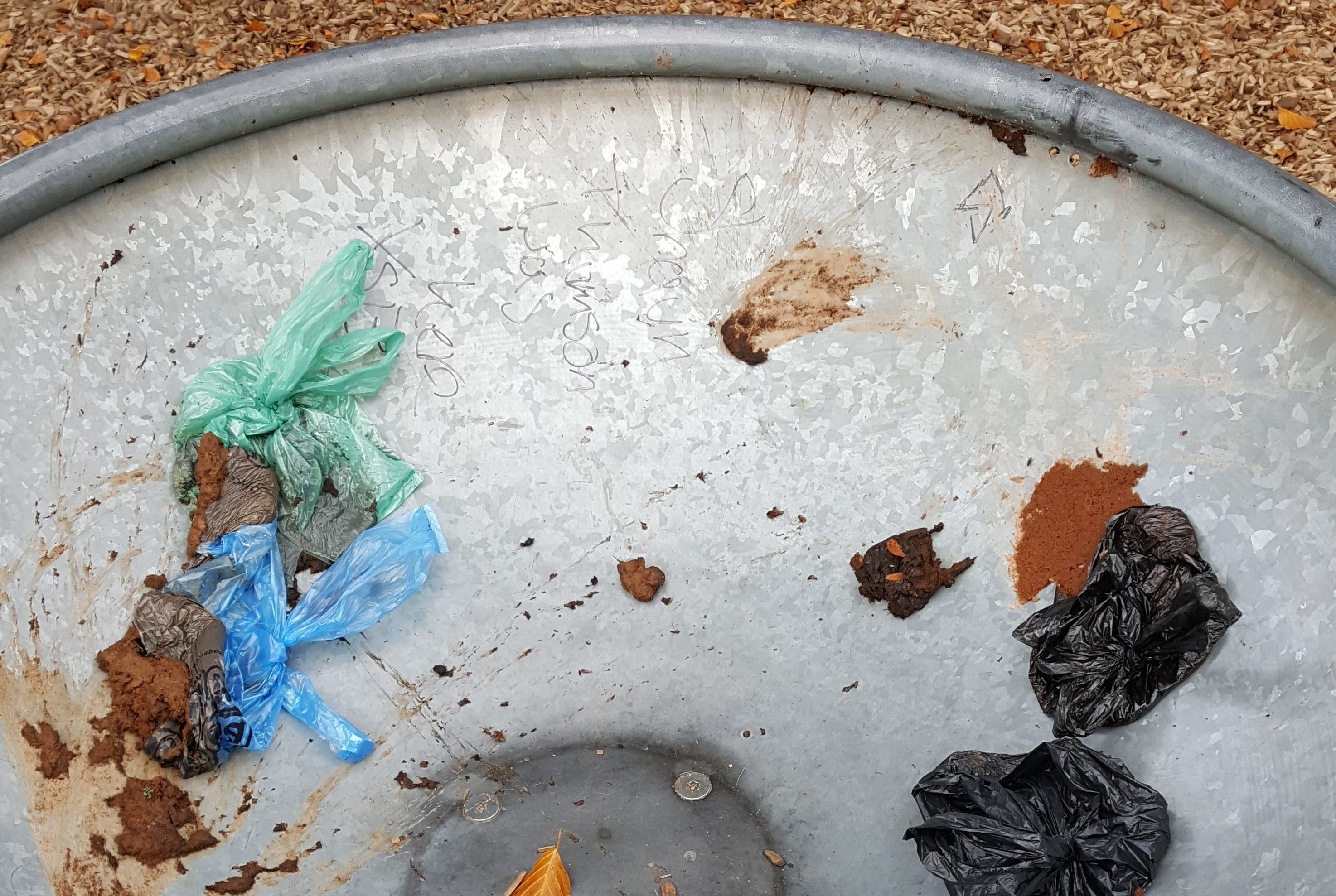 Dog mess thrown over play equipment at Carnoustie House Grounds.