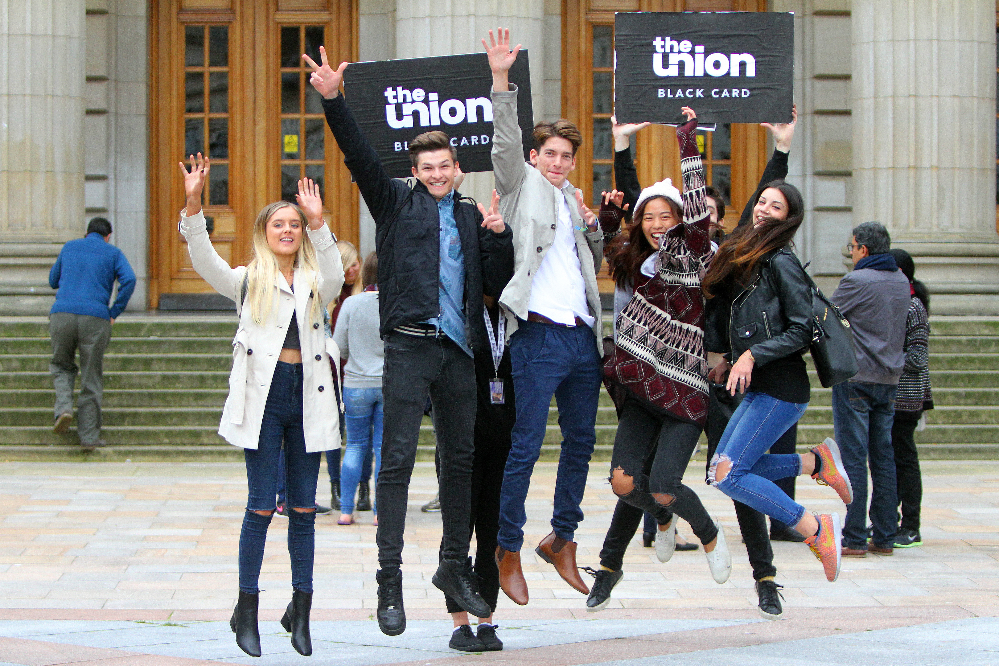 New arrivals Rebecca Reid, Tomasz Suprun, Daniel Pal Szucs, Nydia Lin and Gaia Merelli at the Caird Hall welcome ceremony on  Monday.