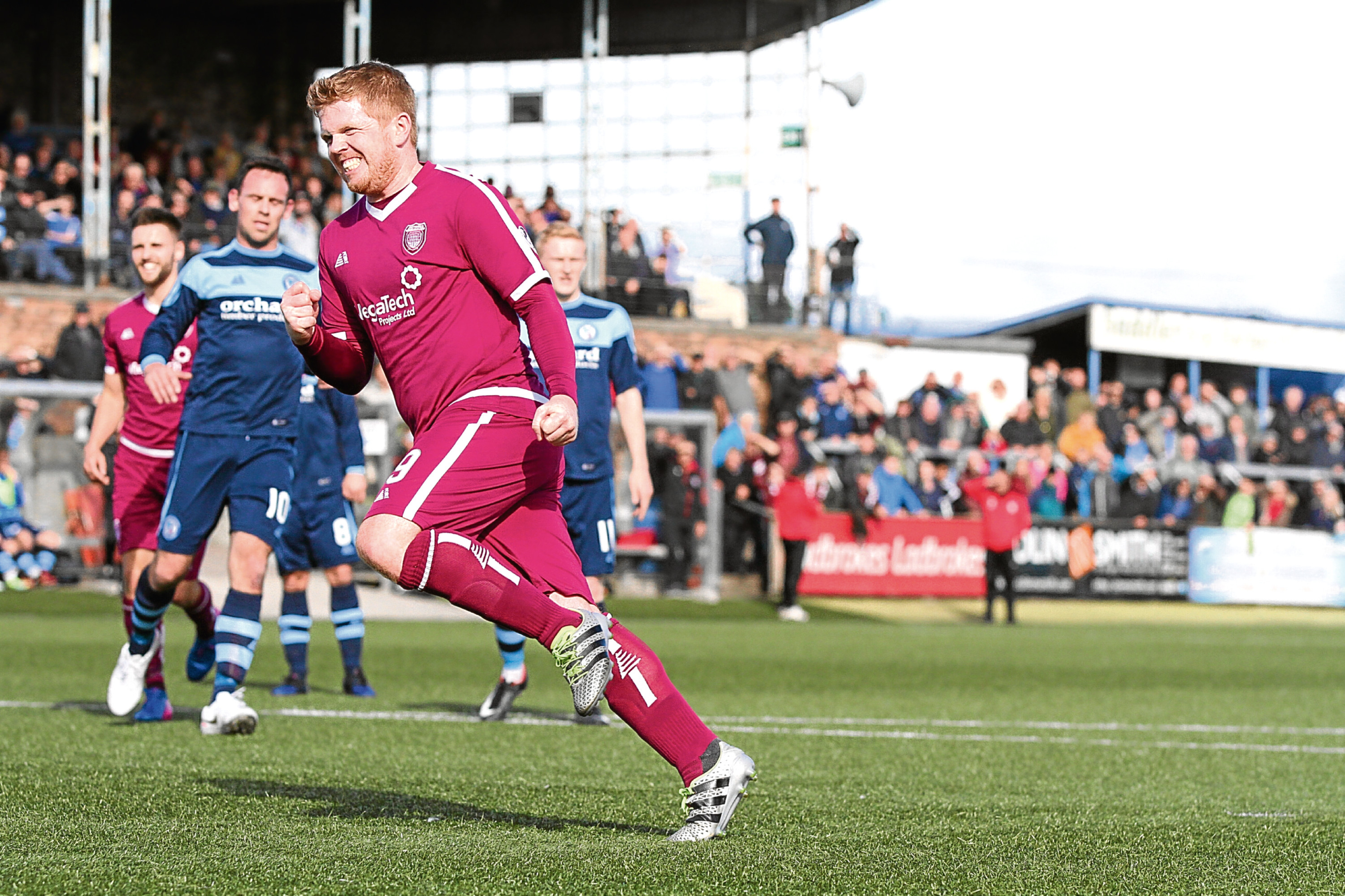 Ryan McCord scores Arbroath's first goal from the penalty spot.