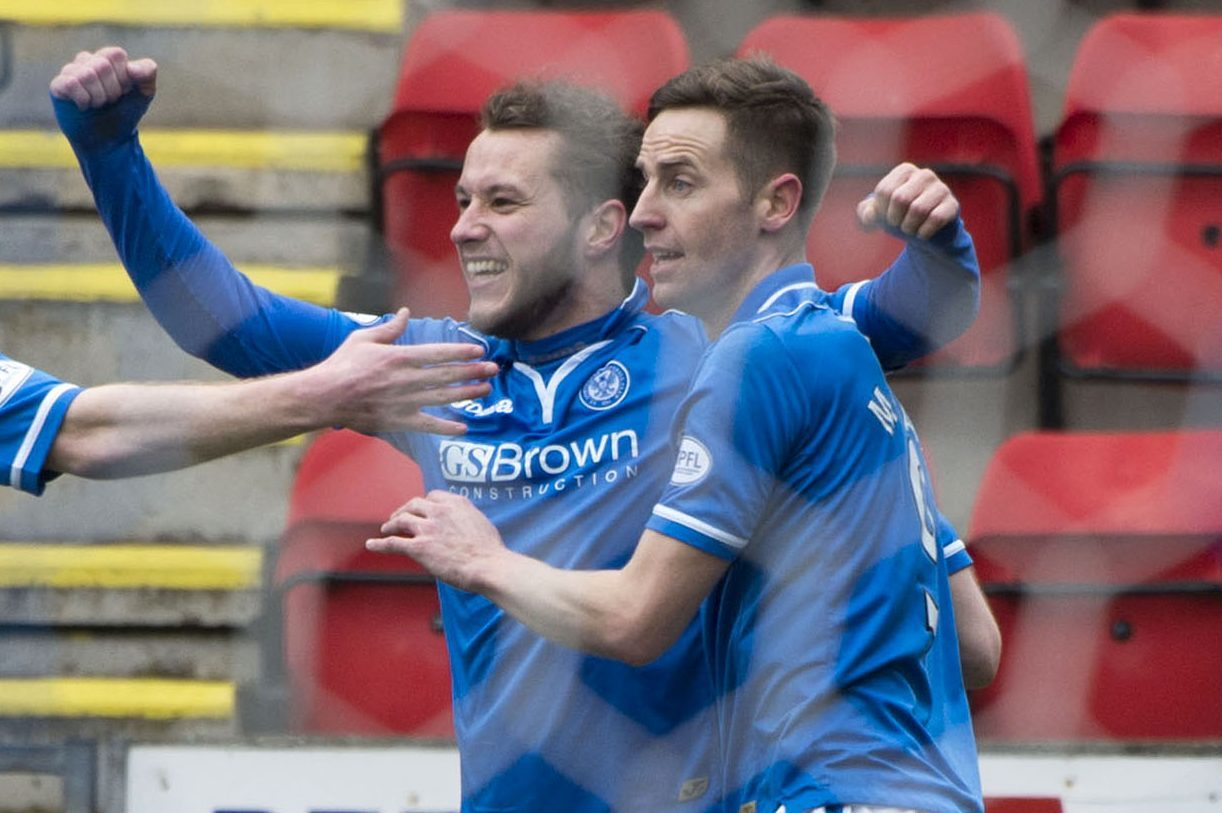 Steven MacLean and Stevie  May celebrate a goal at Saints.