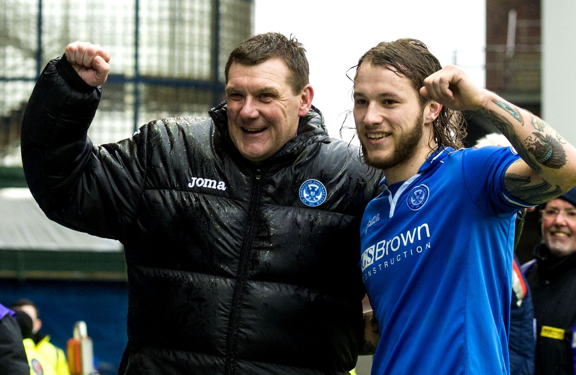 Stevie May and Tommy Wright celebrate their Scottish Cup semi-final win.