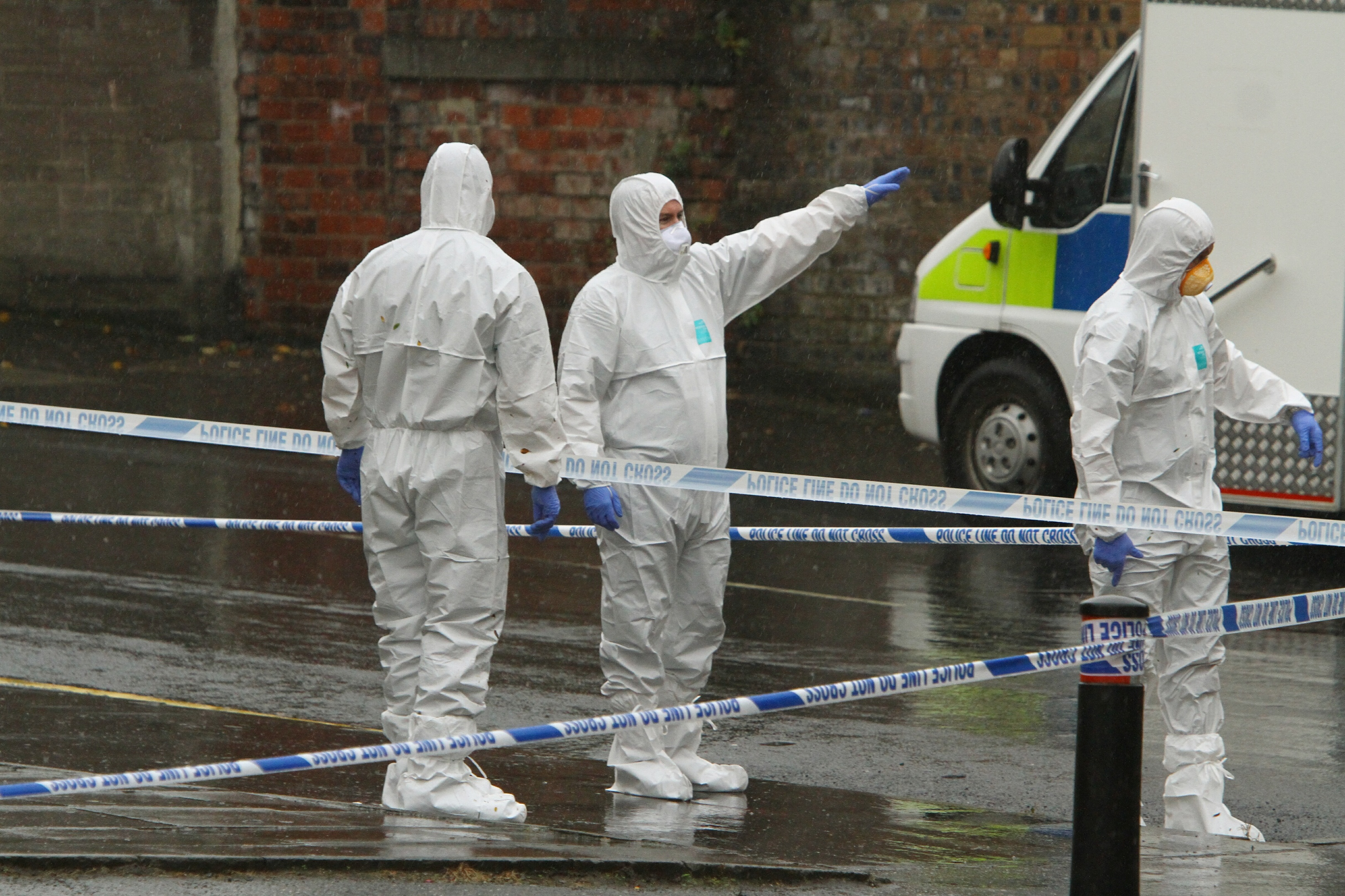 Police at the incident in Arklay Street today.