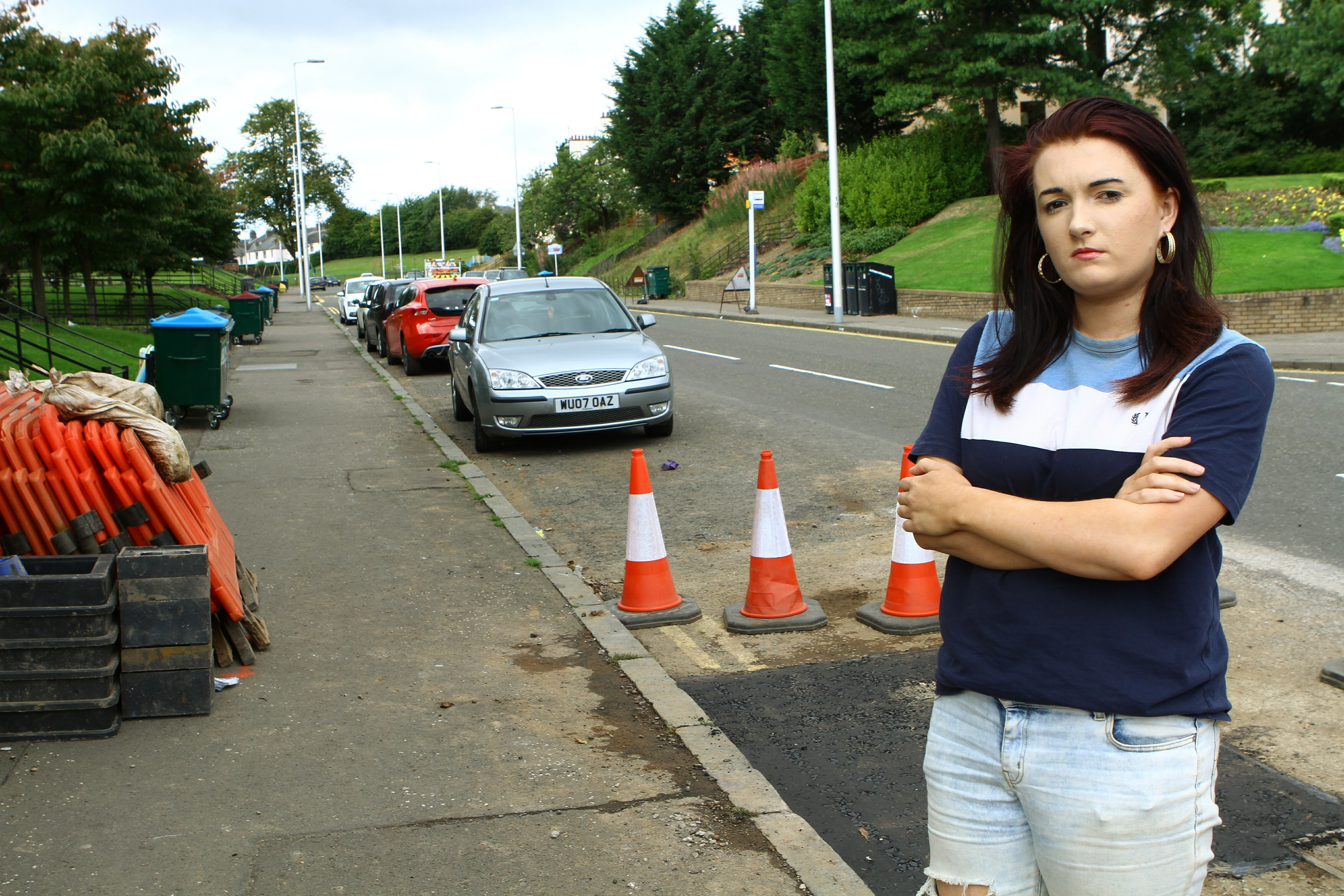 Ashley Benvie outside her flat in Moncur Crescent in Dundee