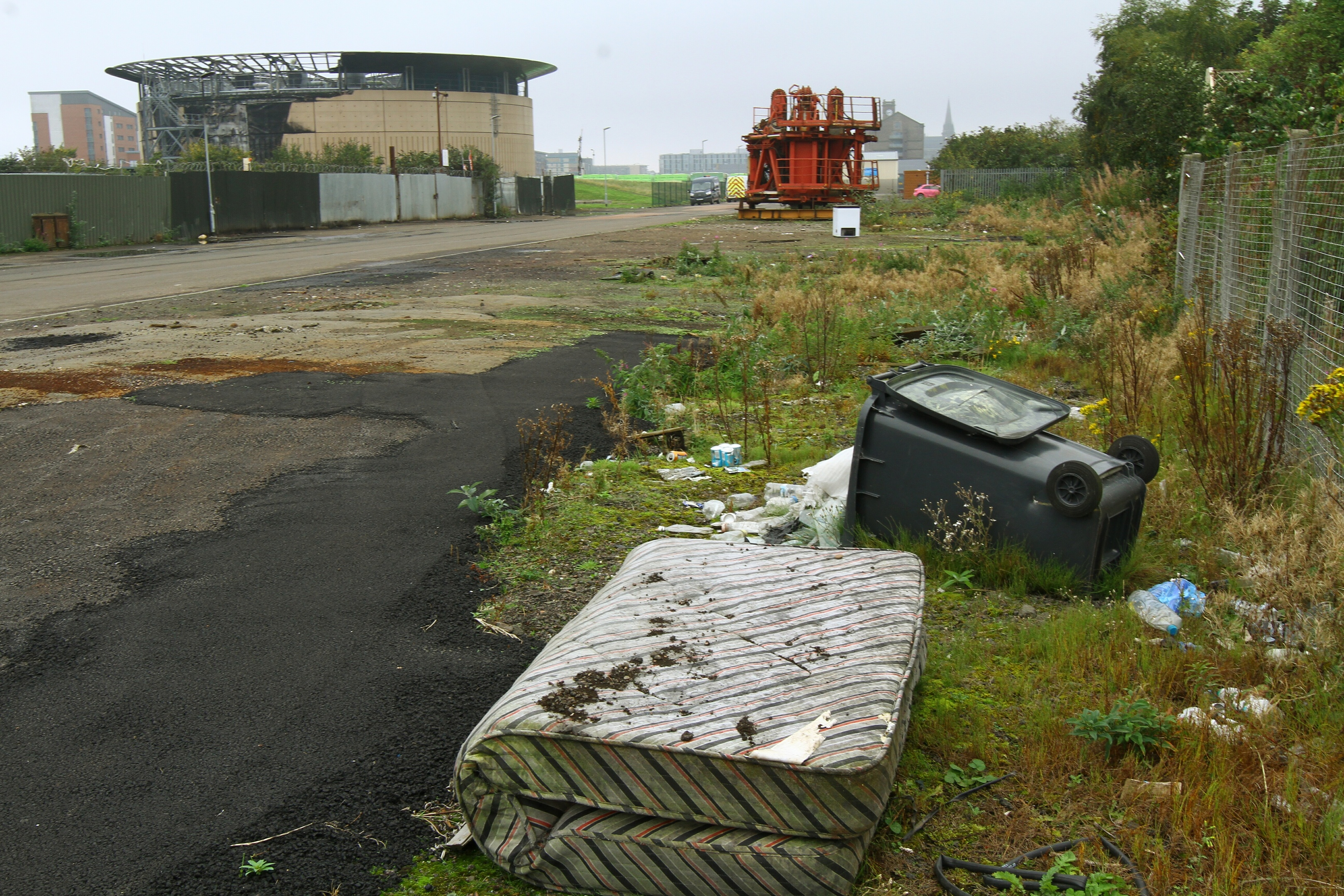 Weeds and rubbish just yards from where cruise passengers arrive in Dundee.