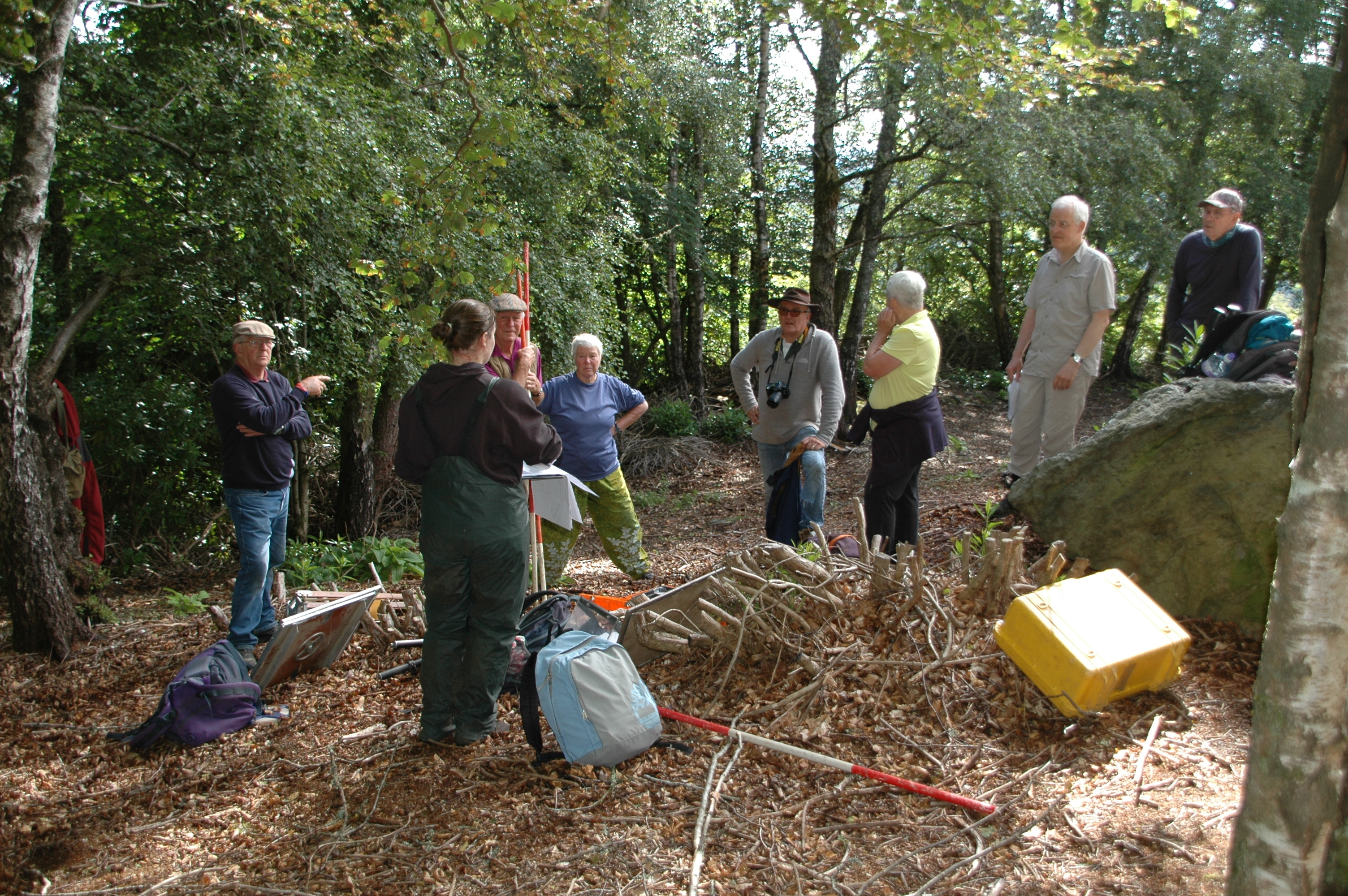 Community volunteers learning survey skills from AOC Archaeology, who will play a key role in the dig.