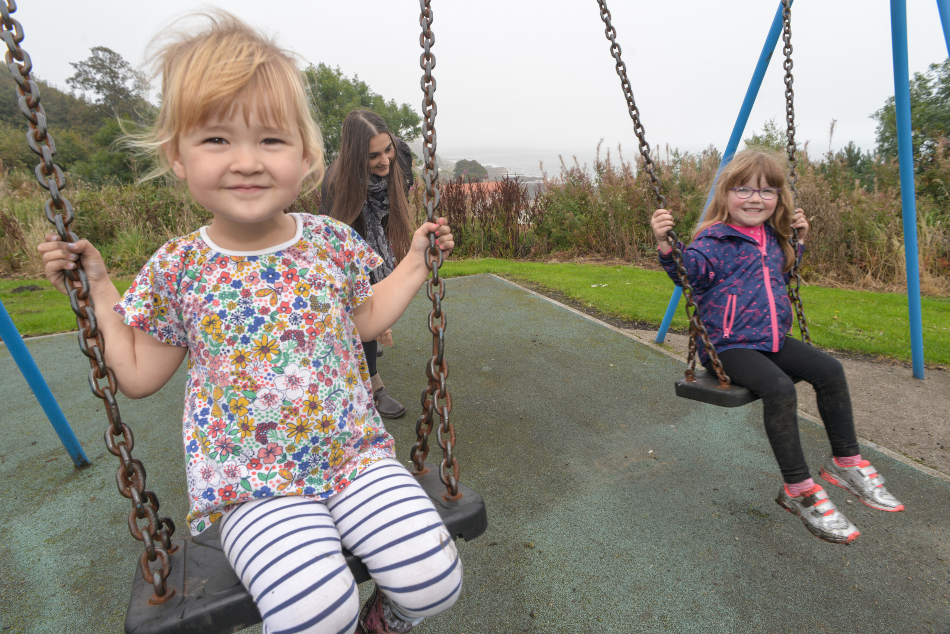 Sharon Walker at East Wemyss play park with four-year-olds Pearl and friend Melody.