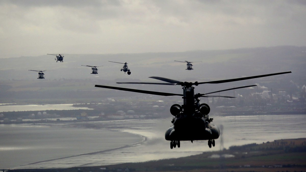 The Royal Navy helicopters take to the skies above Fife for the HMS Prince of Wales ceremony.