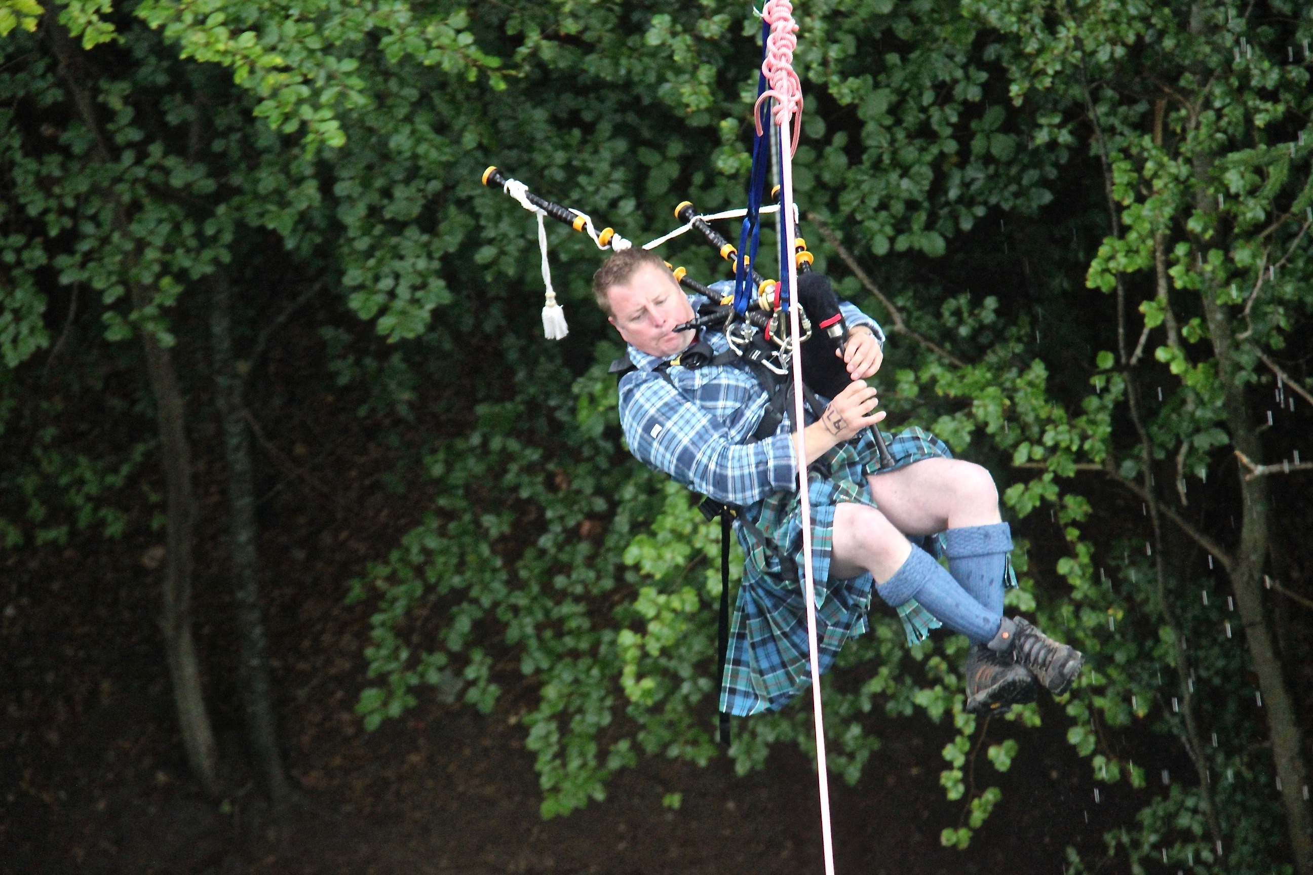 Roddy Garden was the first to use the new Highland Swing over the River Garry.
