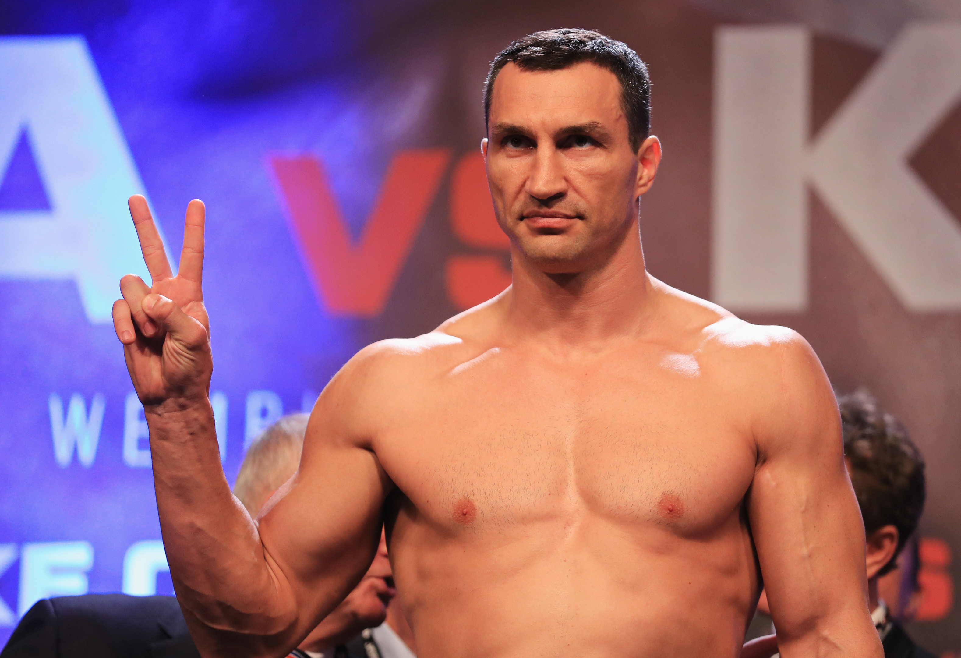 Wladimir Klitschko poses during the weigh-in prior to the Heavyweight Championship contest against Anthony Joshua at Wembley Arena.