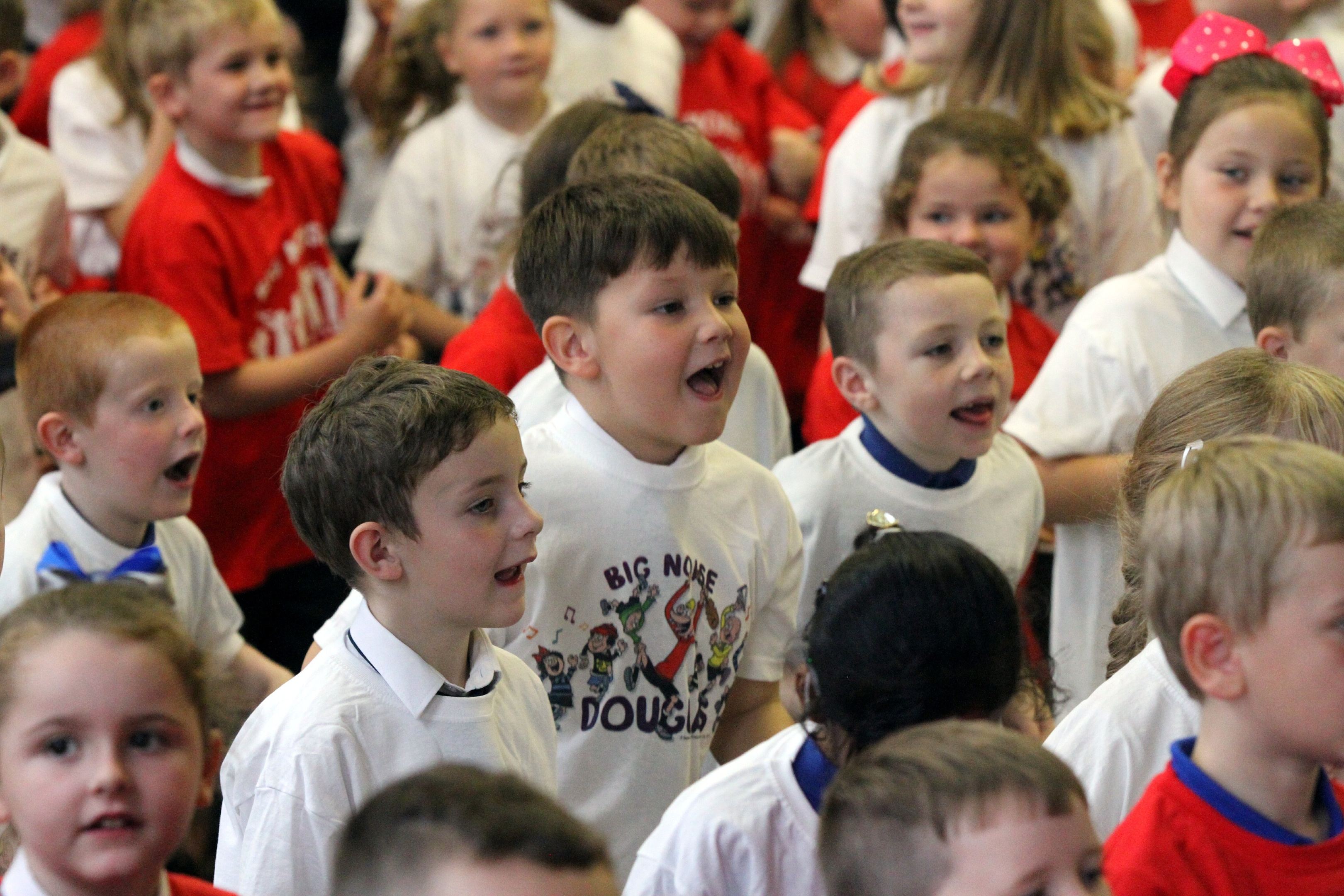 Excitement among the pupils the the Big Noise Douglas launch.