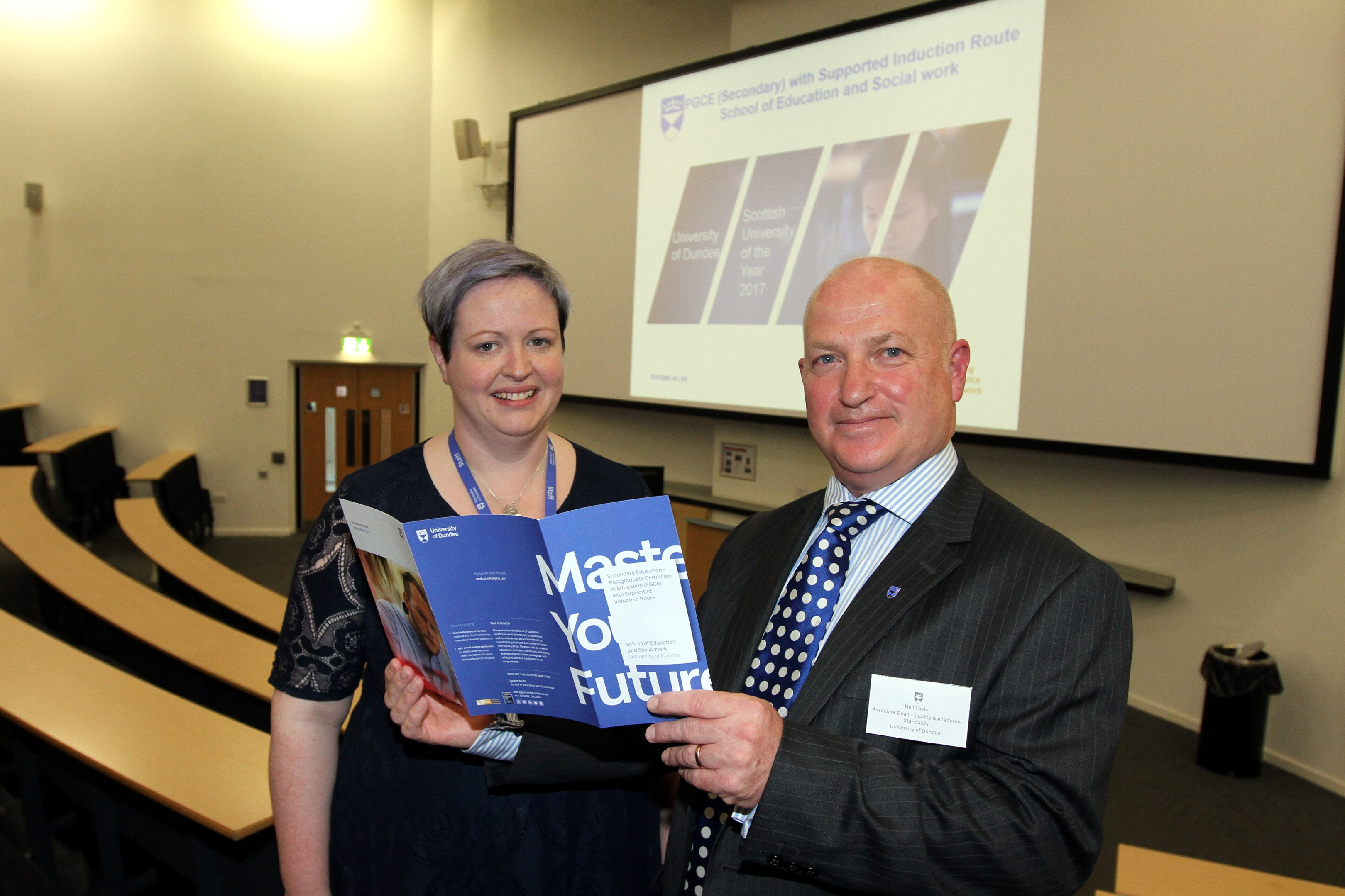 Lauren Boath (Pathway Director PGCE) & Neil Taylor ( Associate Dean - Quality & Academic Standards at University of Dundee,