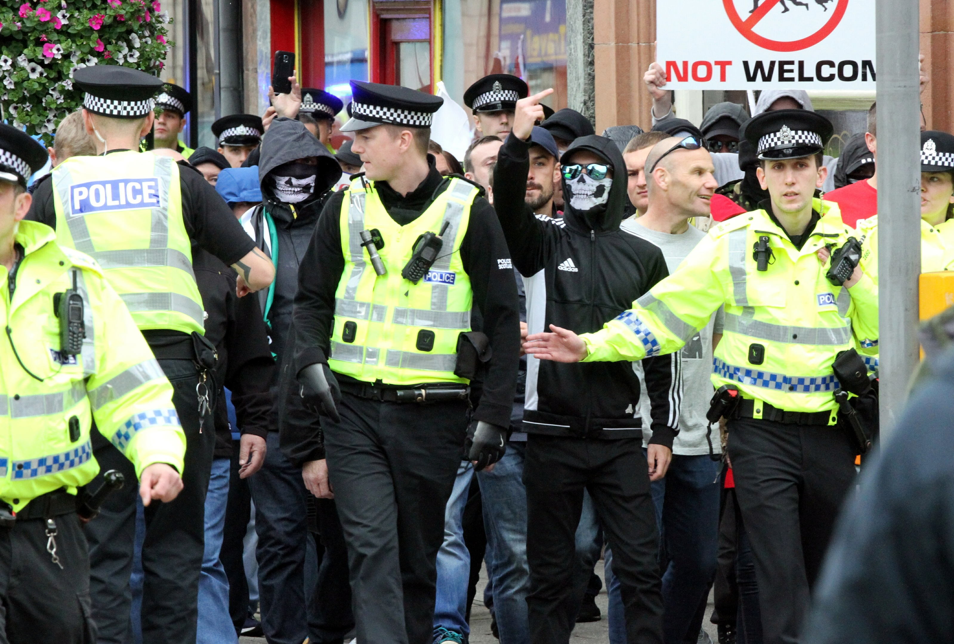 The Scottish Defence League march in Perth
