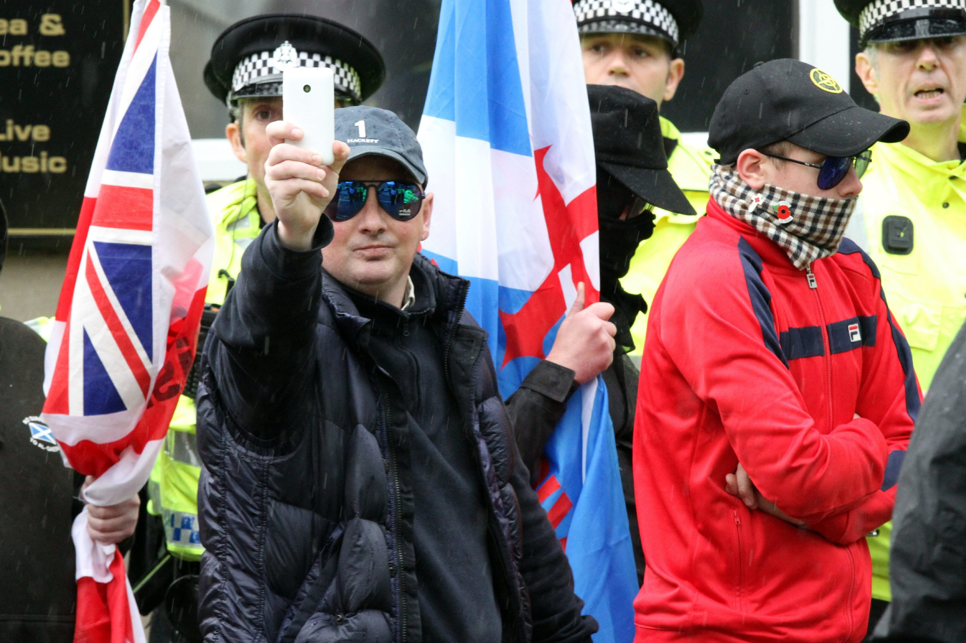 The Scottish Defence League protest march in Perth.