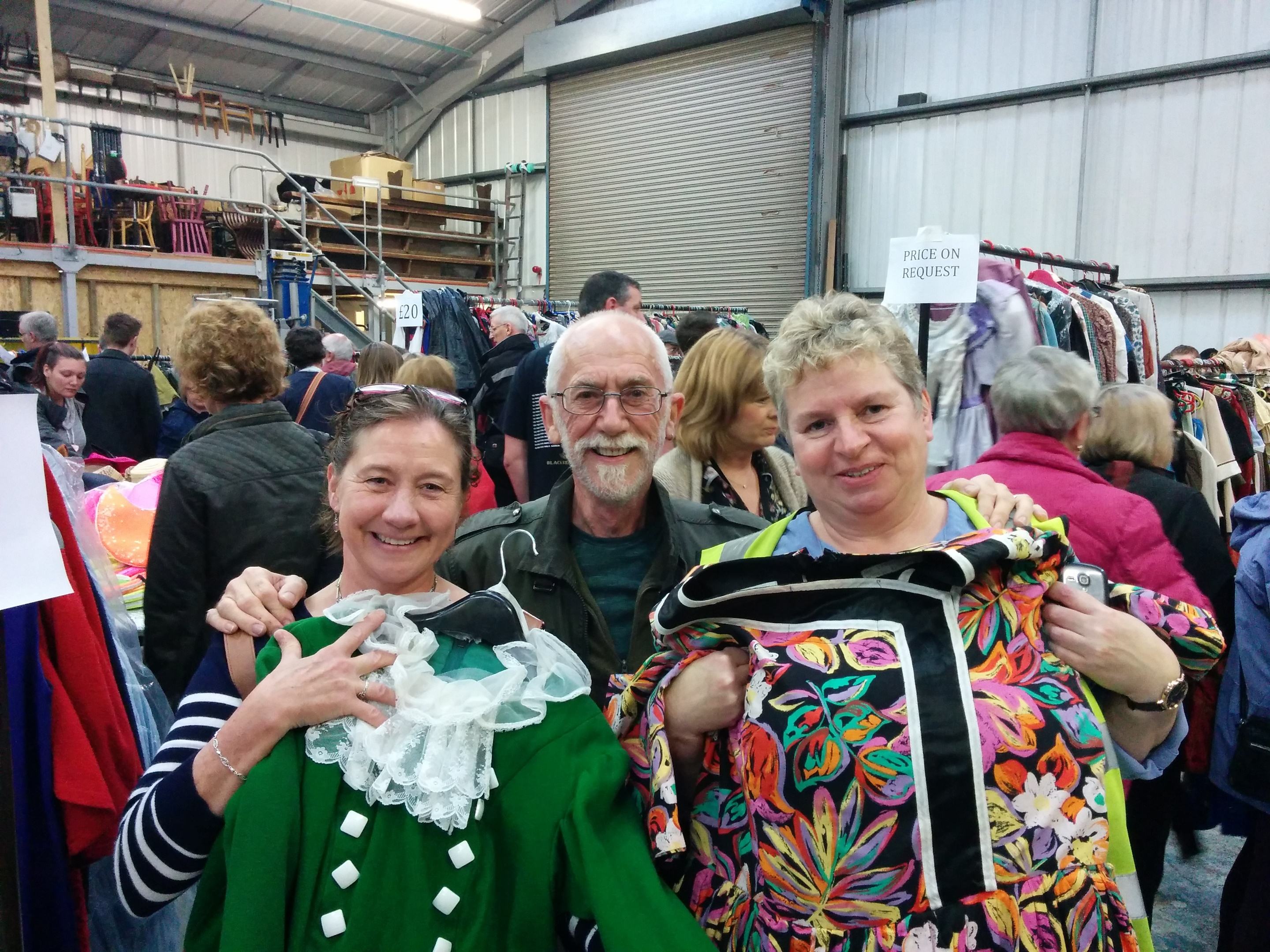 Perth Drama Club was well-represented at the sale. Christine Aston, George Hutchison and Susan Corbett (with Widow Twankey's costume) were among the bargain hunters.