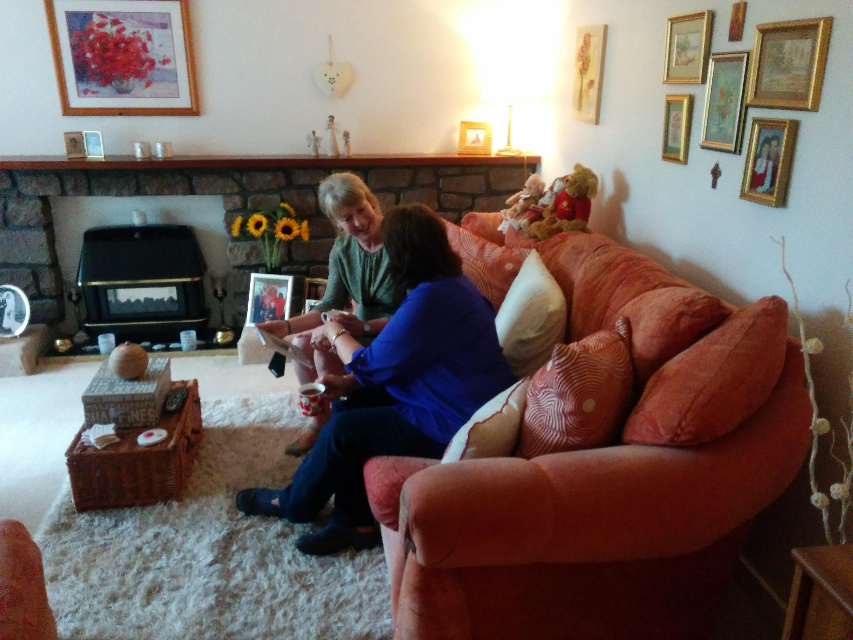 Mrs Kopel shares treasured memories of her husband at her Kirriemuir home with Ms Robison.