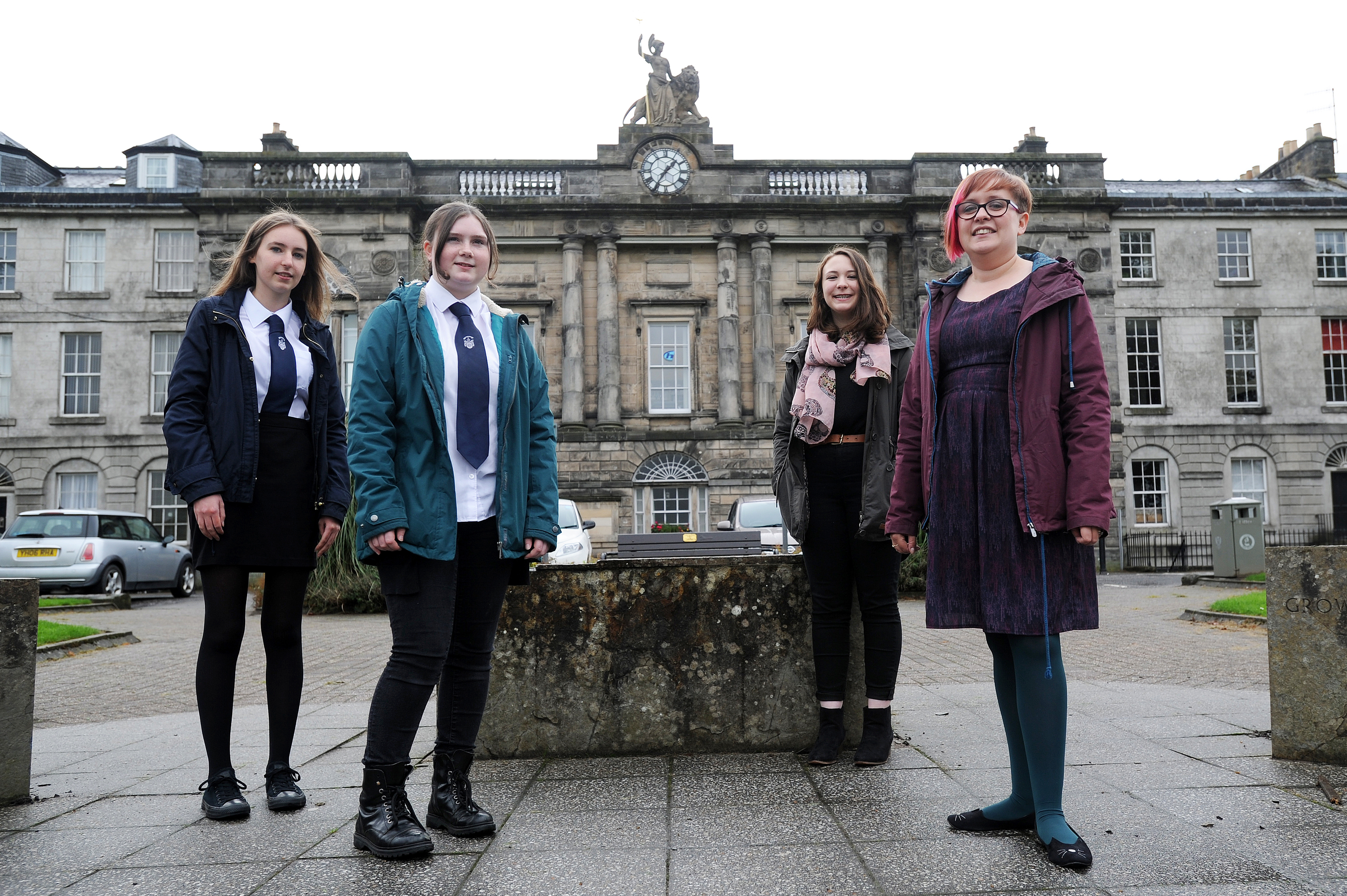 S5 History Students (l-r) Heather Beer, Rachel Fallon, Corey Coutts and teacher of history Laura Hobson at, Rose Terrace