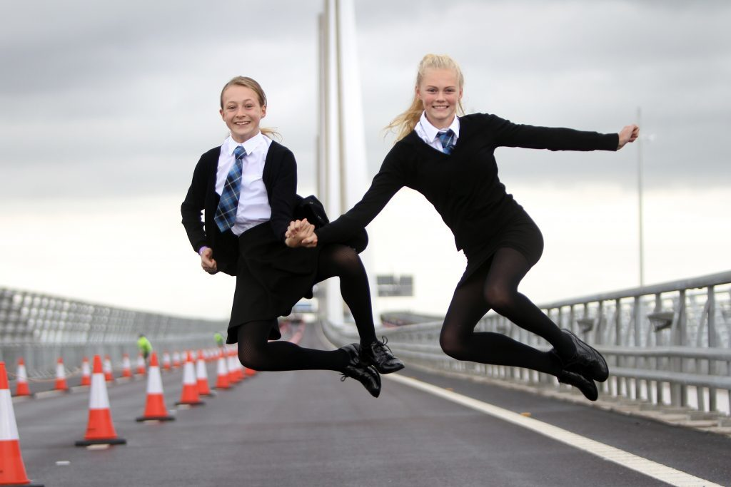 Abbie Garmany and Saoirse Homan, two of the last people to walk the bridge.