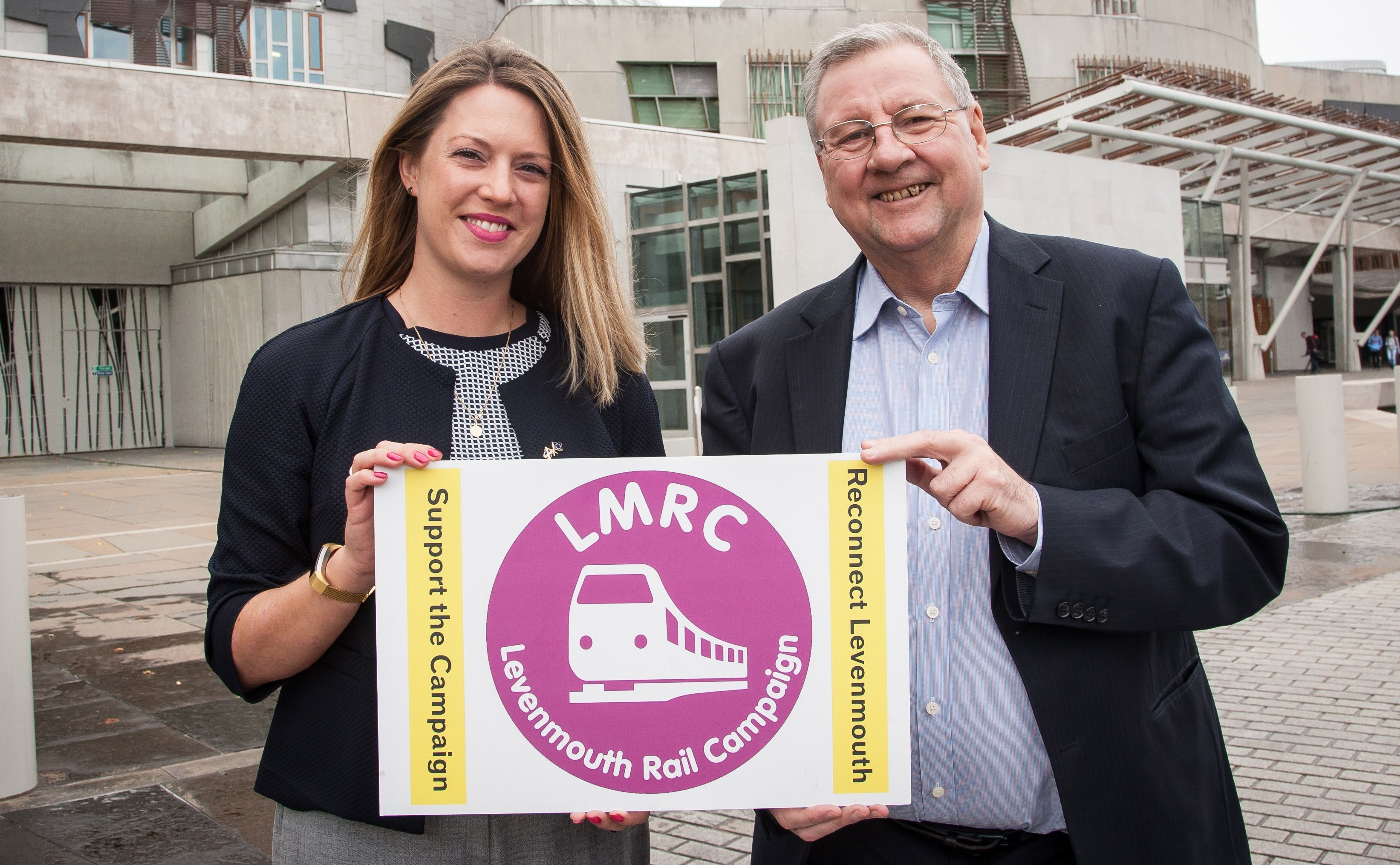 Eugene Clarke with Jenny Gilruth MSP, who spoke in support of the rail campaign in parliament