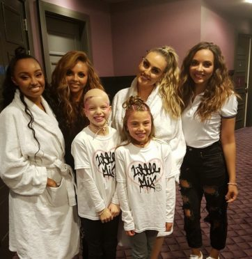Lily and pal Cerys Robertson with Little Mix in Dundee.