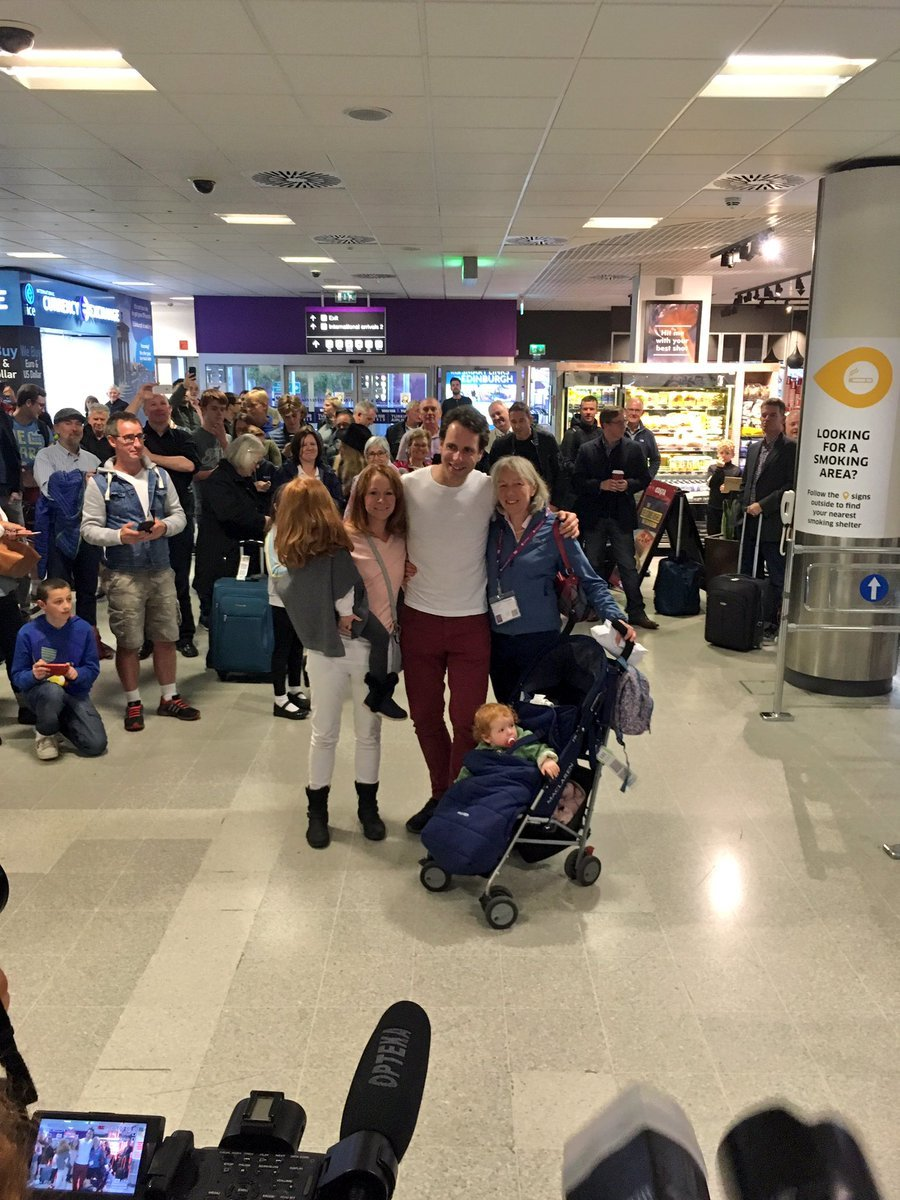 Mark Beaumont arrives back in Scotland.