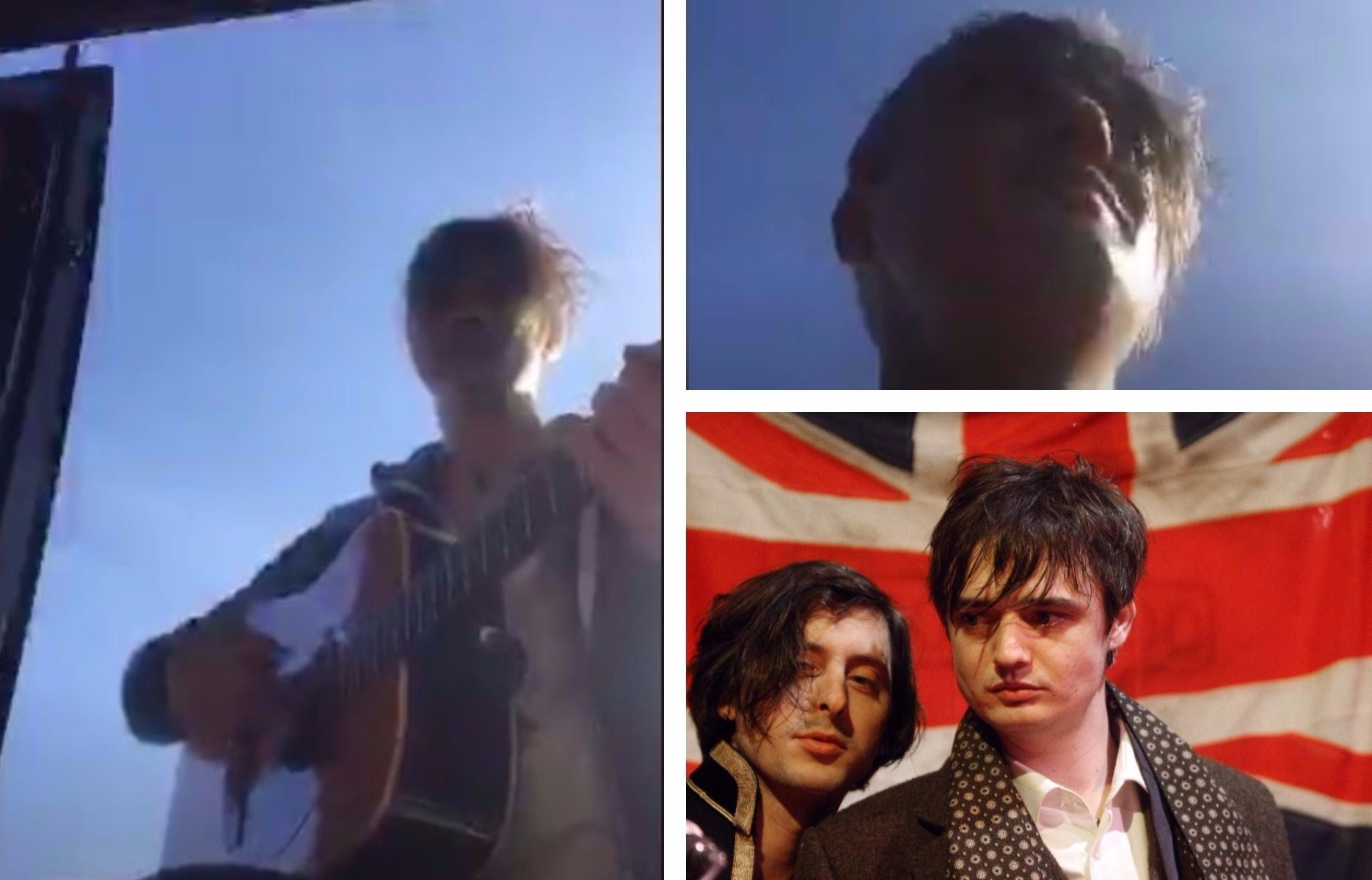 Pete Doherty plays in a Perthshire car park.