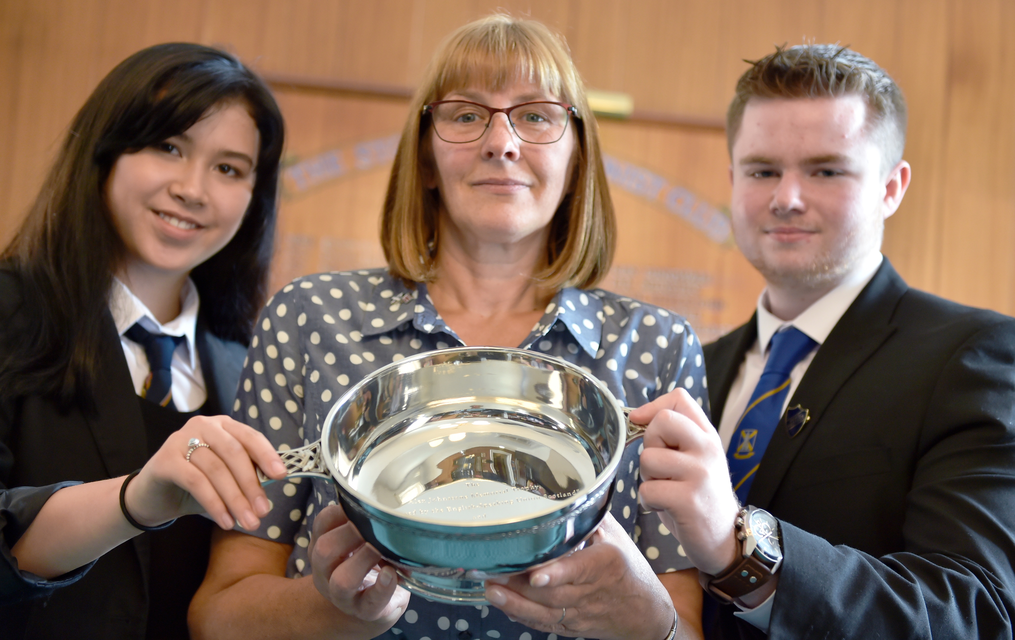 Linda Johnstone with Mackie pupil Darcy Ralph (left) and Mearns pupil James Poppleton