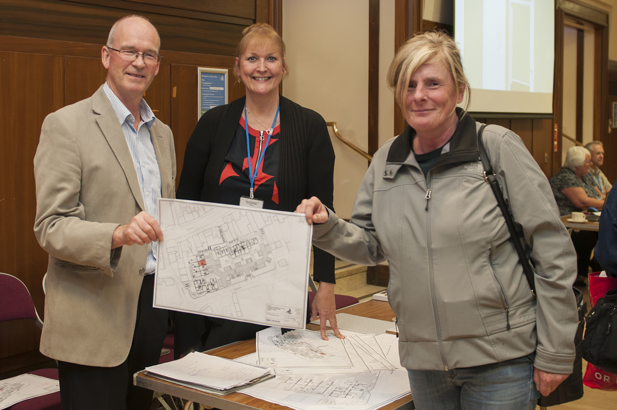 l to r, Angus Council's Doug Keay and Lynne Maciver with resident Yvonne Crighton